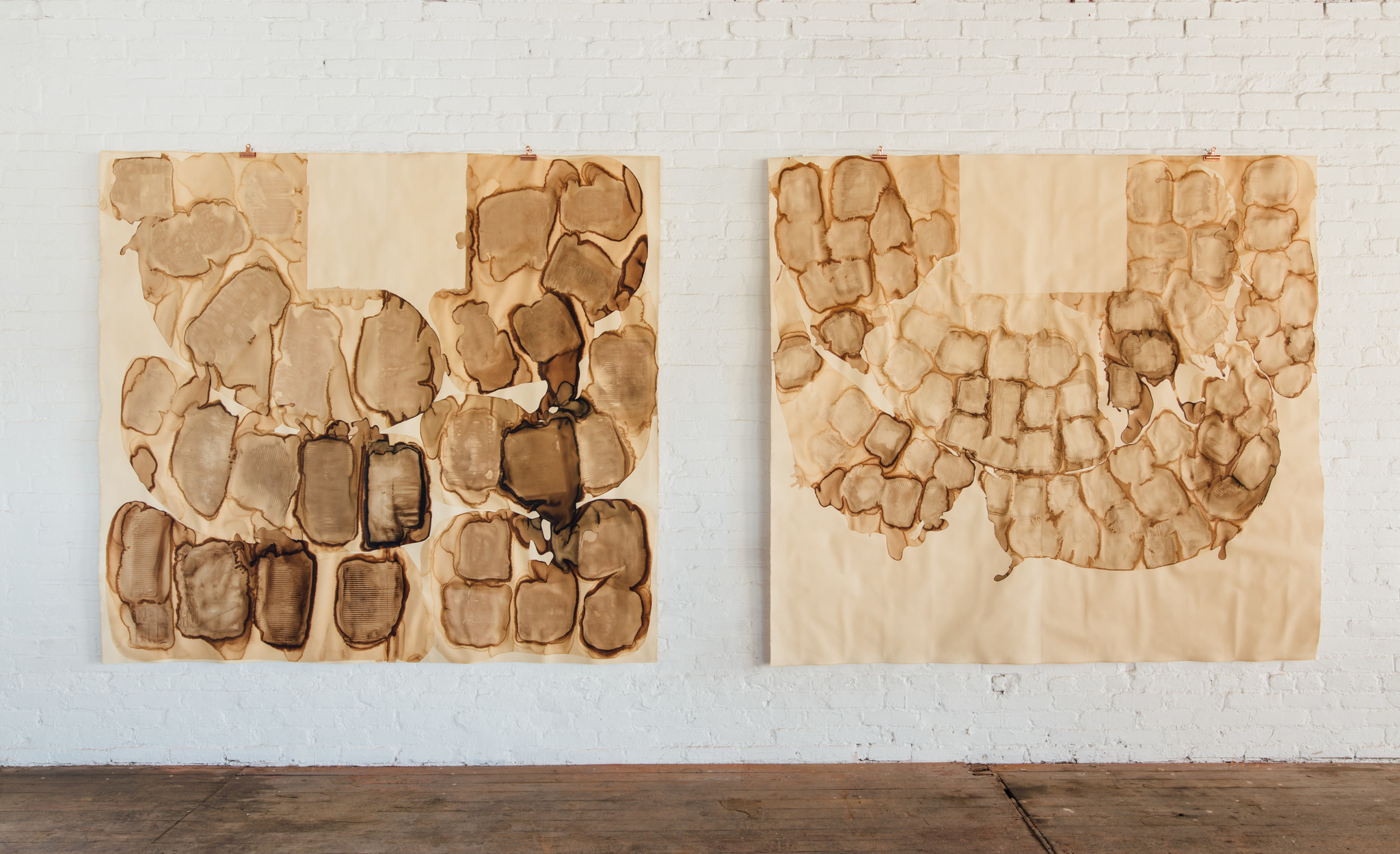 """From a series titled """"Arrangement of Wares"""" by Carmen Argote at Panel LA, made with coffee on paper."""