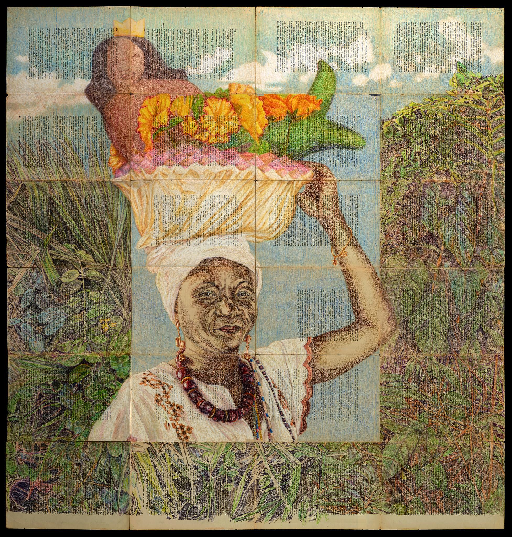 """Pilgrimage to Yemenja (Portrait of Anahita),"" 2017, by J. Michael Walker at Gallery 38."