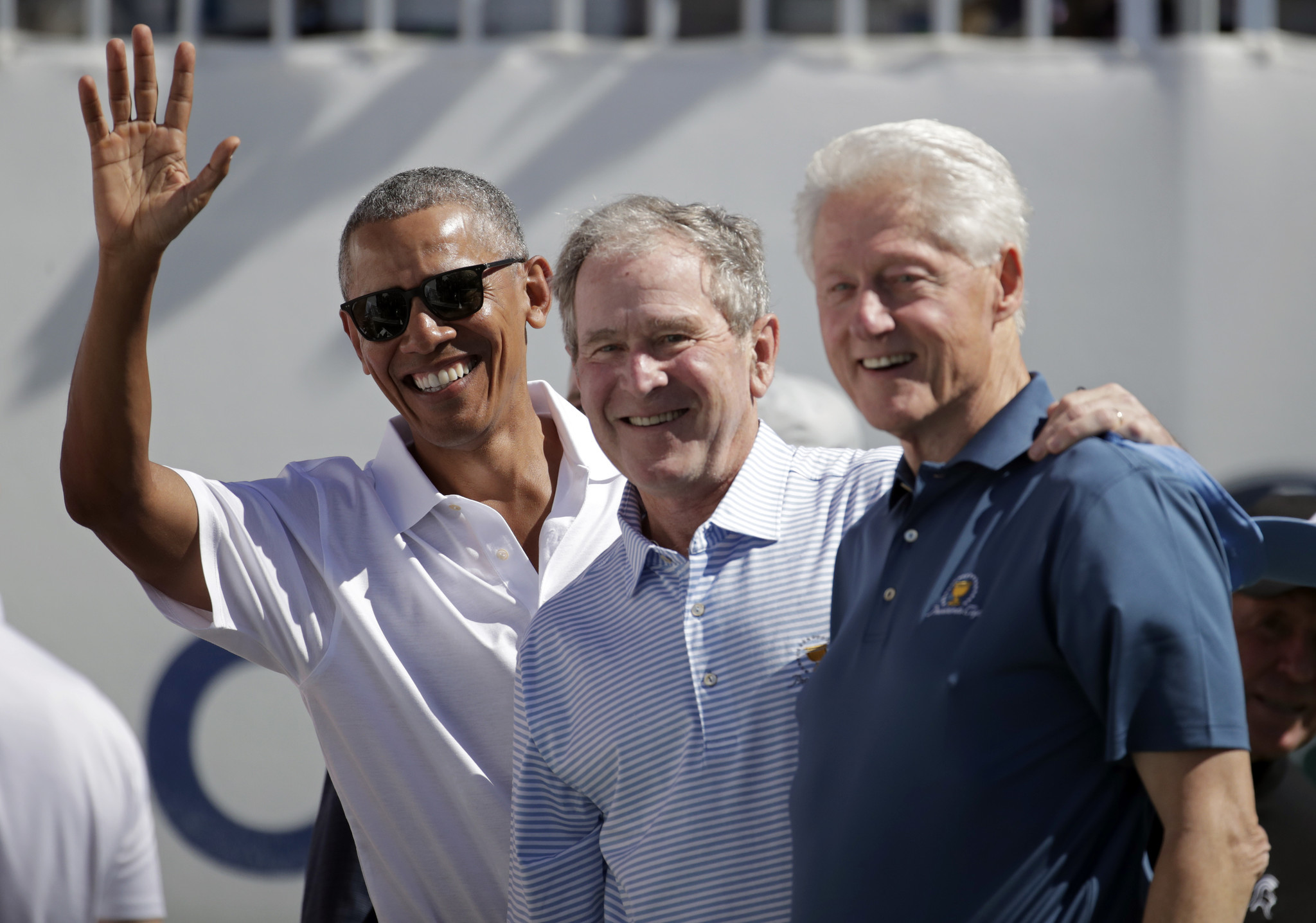 Former presidents obama bush clinton celebrate start of - When is obama out of office ...