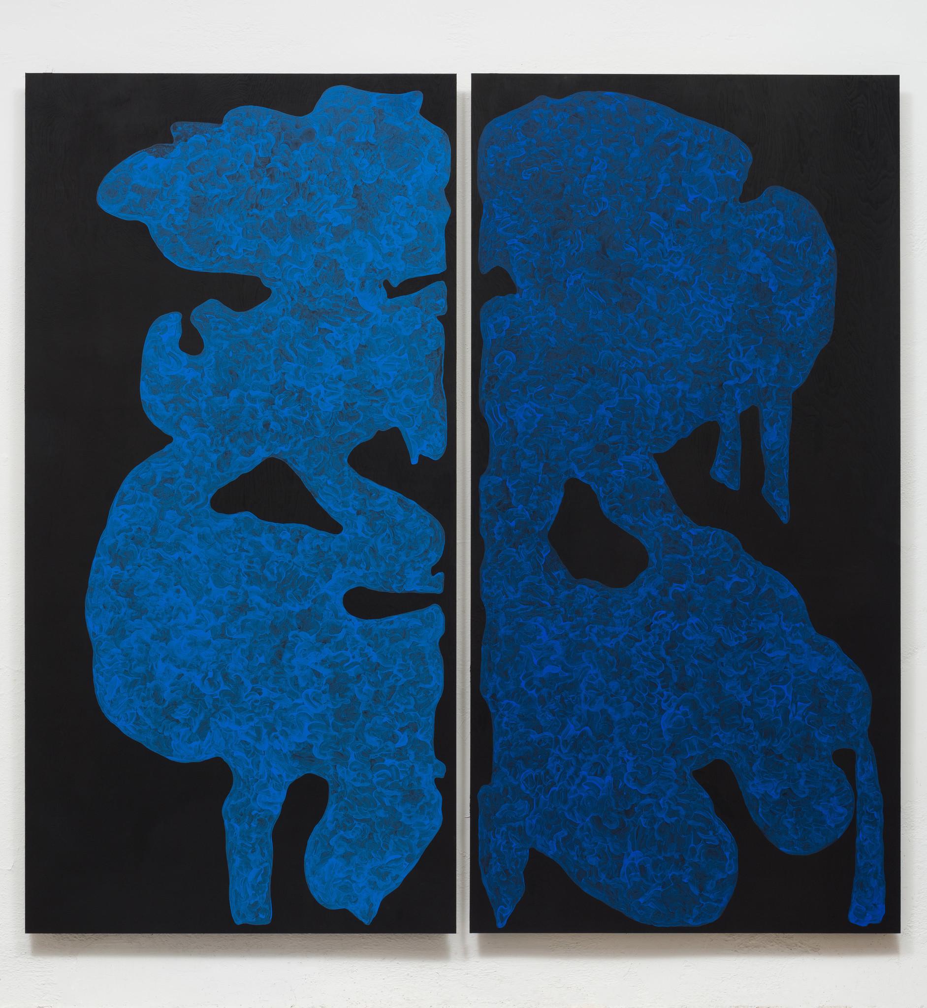 "Monique Prieto, ""Blue Set,"" 2017, acrylic on panel, 72 x 72-1/2 inches."