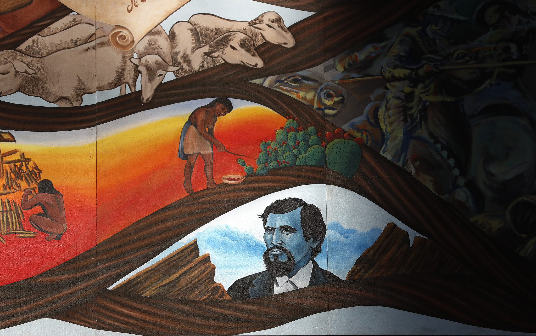 A detail from Carrasco's mural shows 19th century outlaw Tiburcio Vasquez, celebrated by some as a Mexican Robin Hood, and Vasquez Rocks.