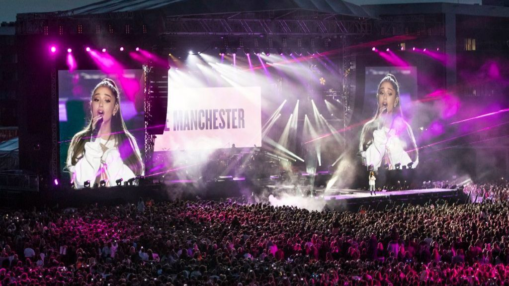 Ariana Grande performs at the One Love Manchester tribute concert on June 4.