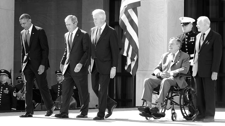 Barack Obama, George W. Bush, Bill Clinton, George H.W. Bush and Jimmy Carter.