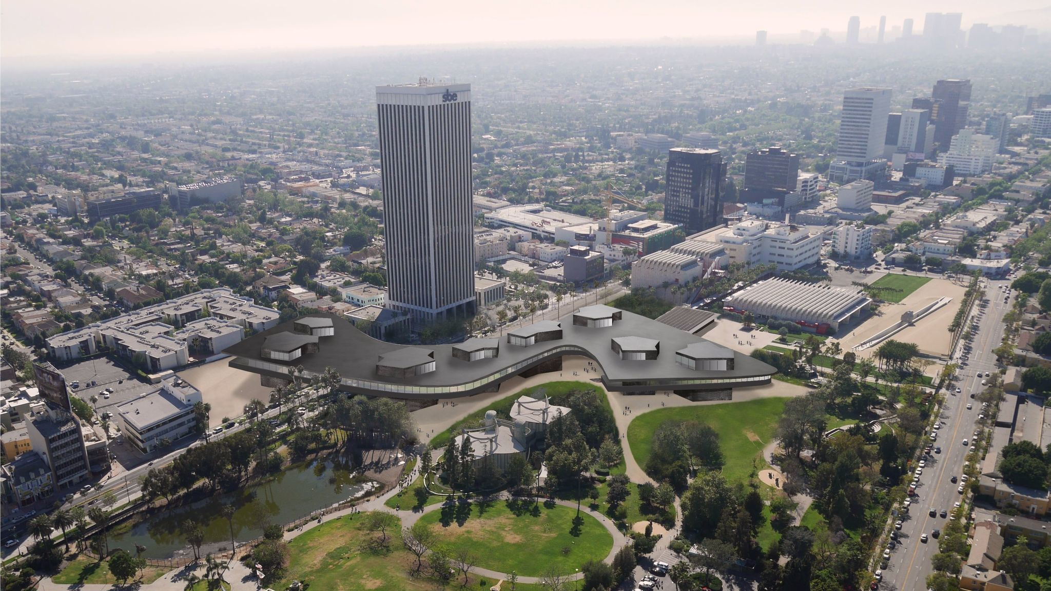 A rendering released last year showing the 2016 iteration of Peter Zumthor's design, which was more angular and crossed Wilshire Boulevard.