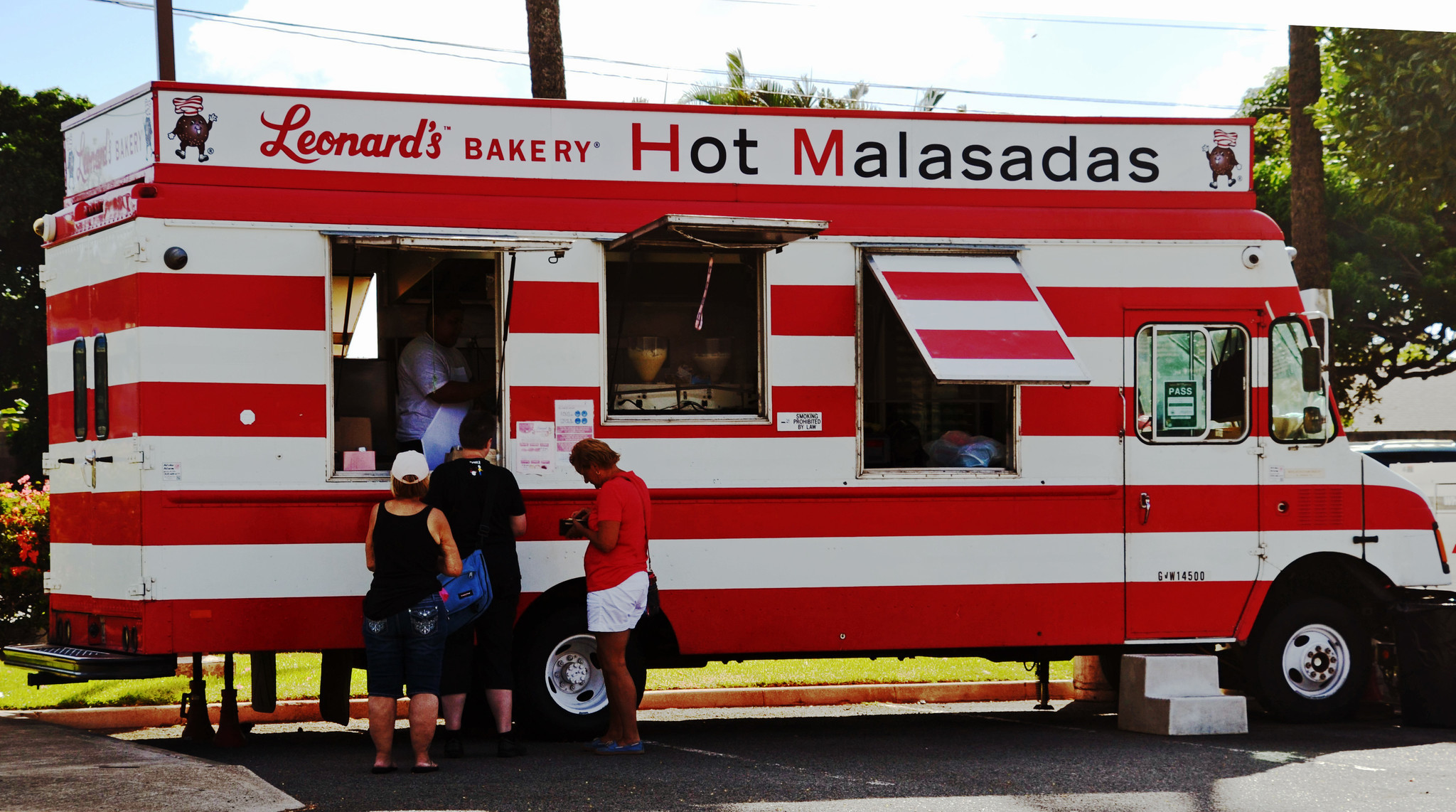 Leonard's, which specializes in malasadas, the Portuguese doughnuts, now has Malasada Mobiles (this one is in Hawaii Kai) that sell their special confections, including a li hing flavor.