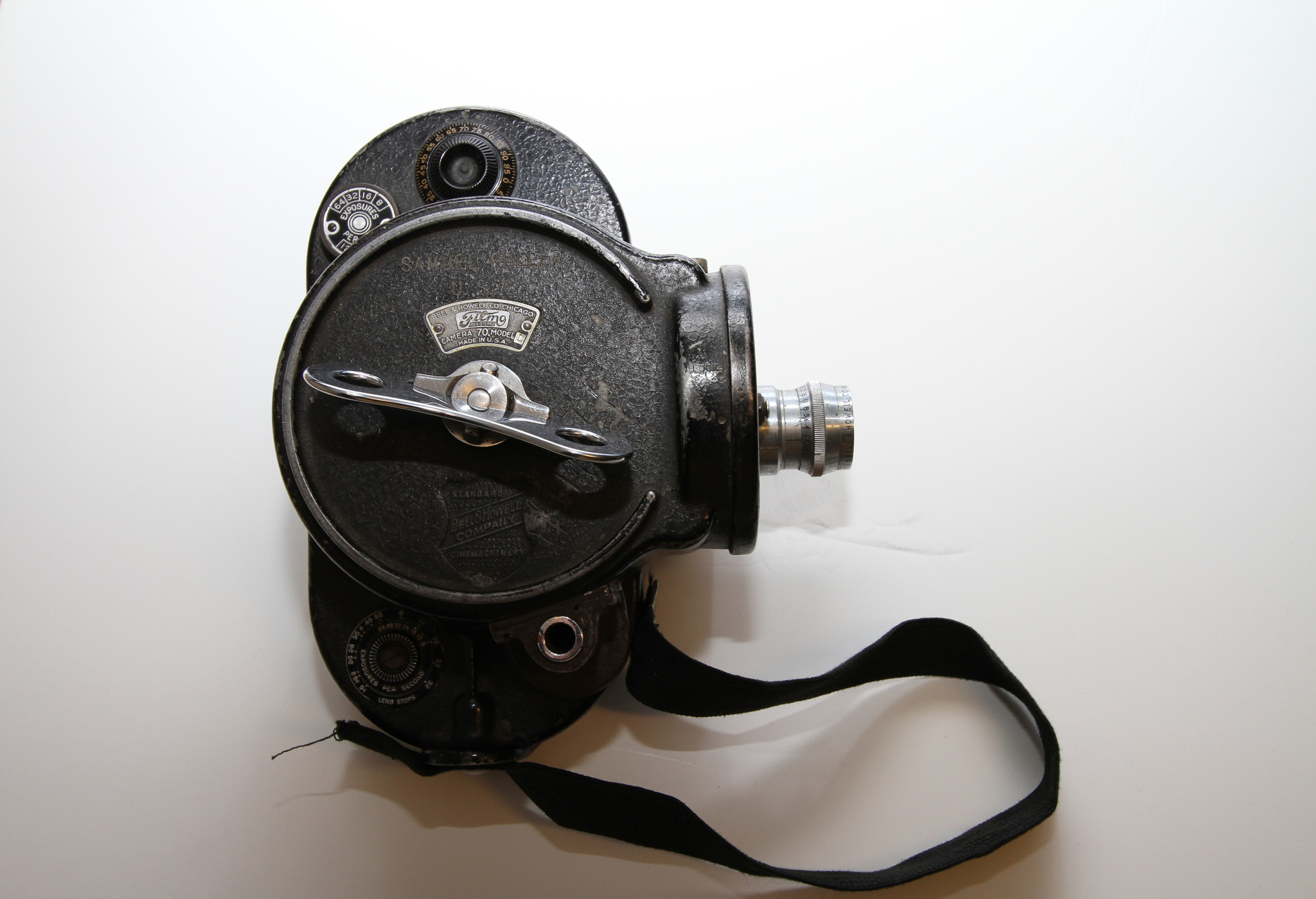 Samuel Fuller's Bell & Howell camera, on view in the exhibition.