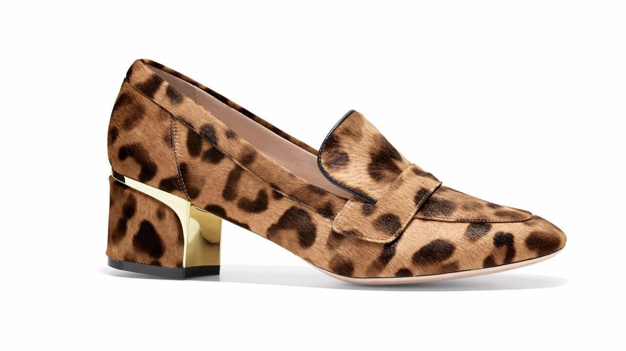 A block heel loafer from Cole Haan comes in ocelot hair calf, tapping into fall's trend in animal prints.