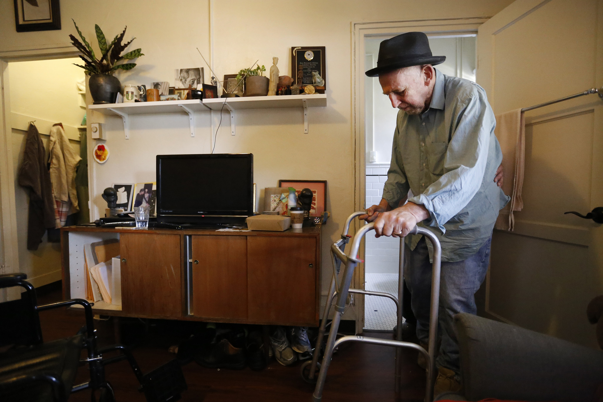 Lewis McAdams at his home in the Kingsley Manor retirement community in Los Angeles.