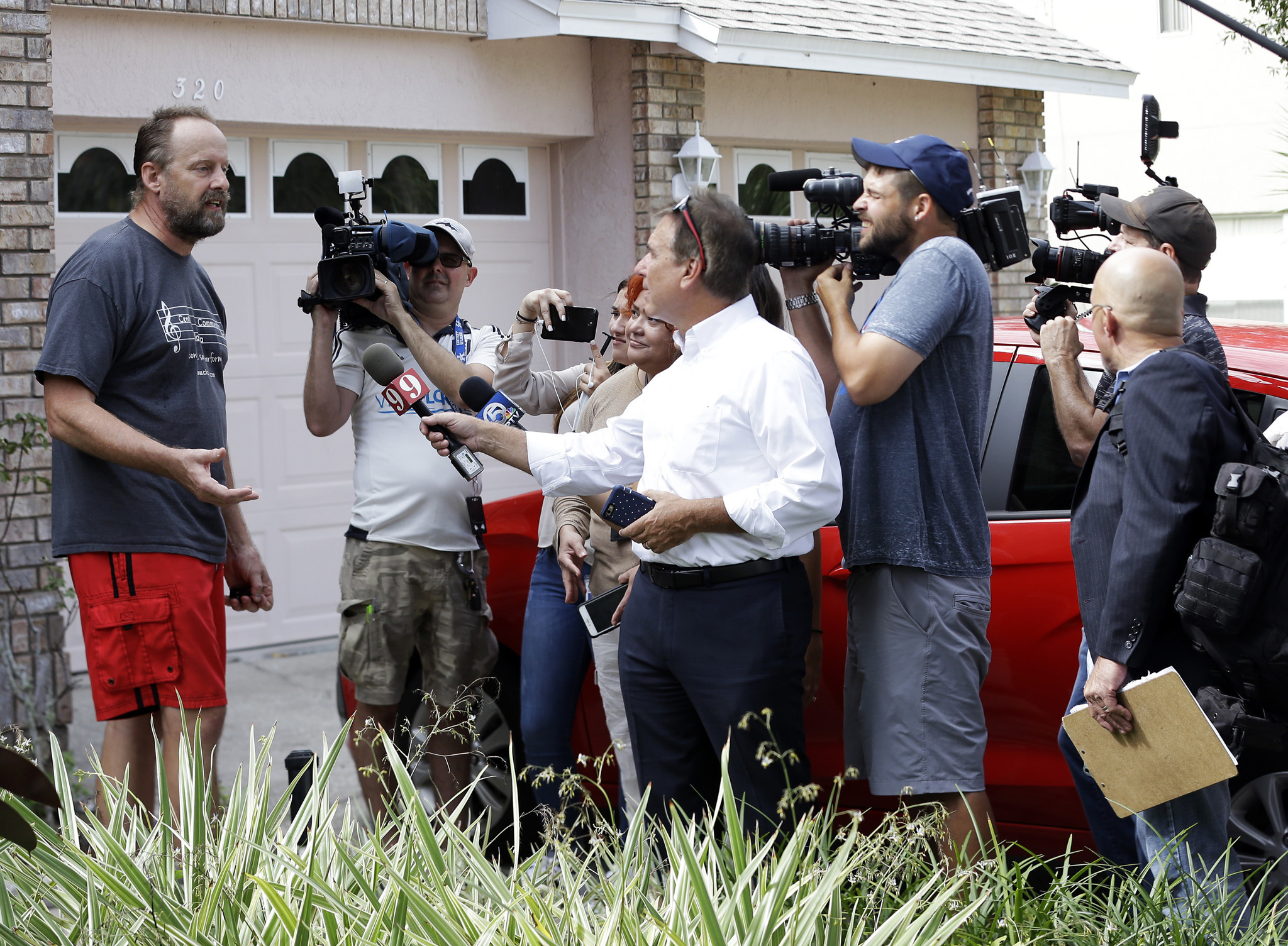 Eric Paddock, the brother of the Las Vegas gunman, speaks to reporters outside his home Monday in Orlando, Fla.