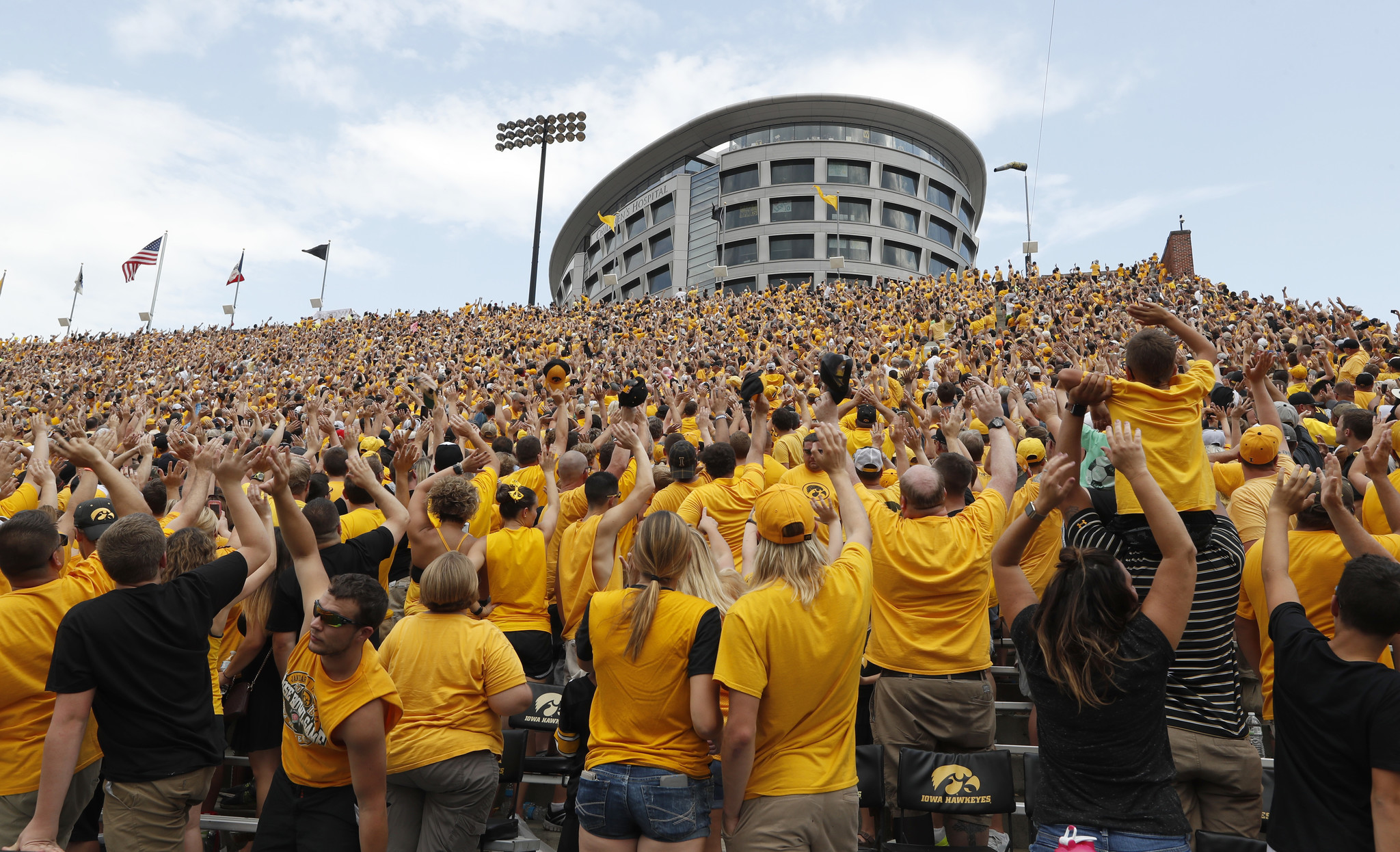 Iowa Fans Wave to Kids at the Children's Hospital ...