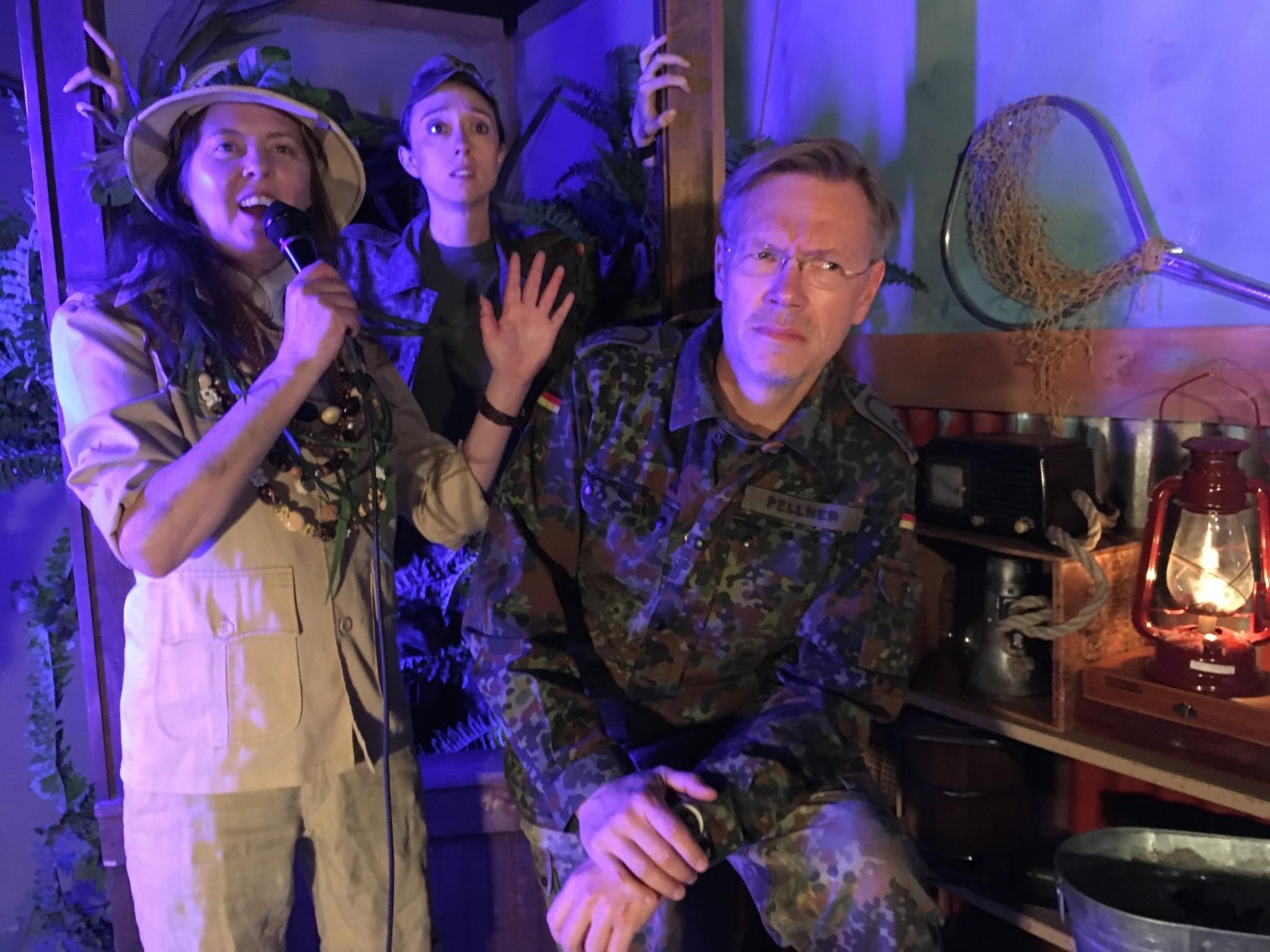 "Sarah Rosenberg, left, Ashley Steed and Dan Via in ""Ridiculous Darkness."""
