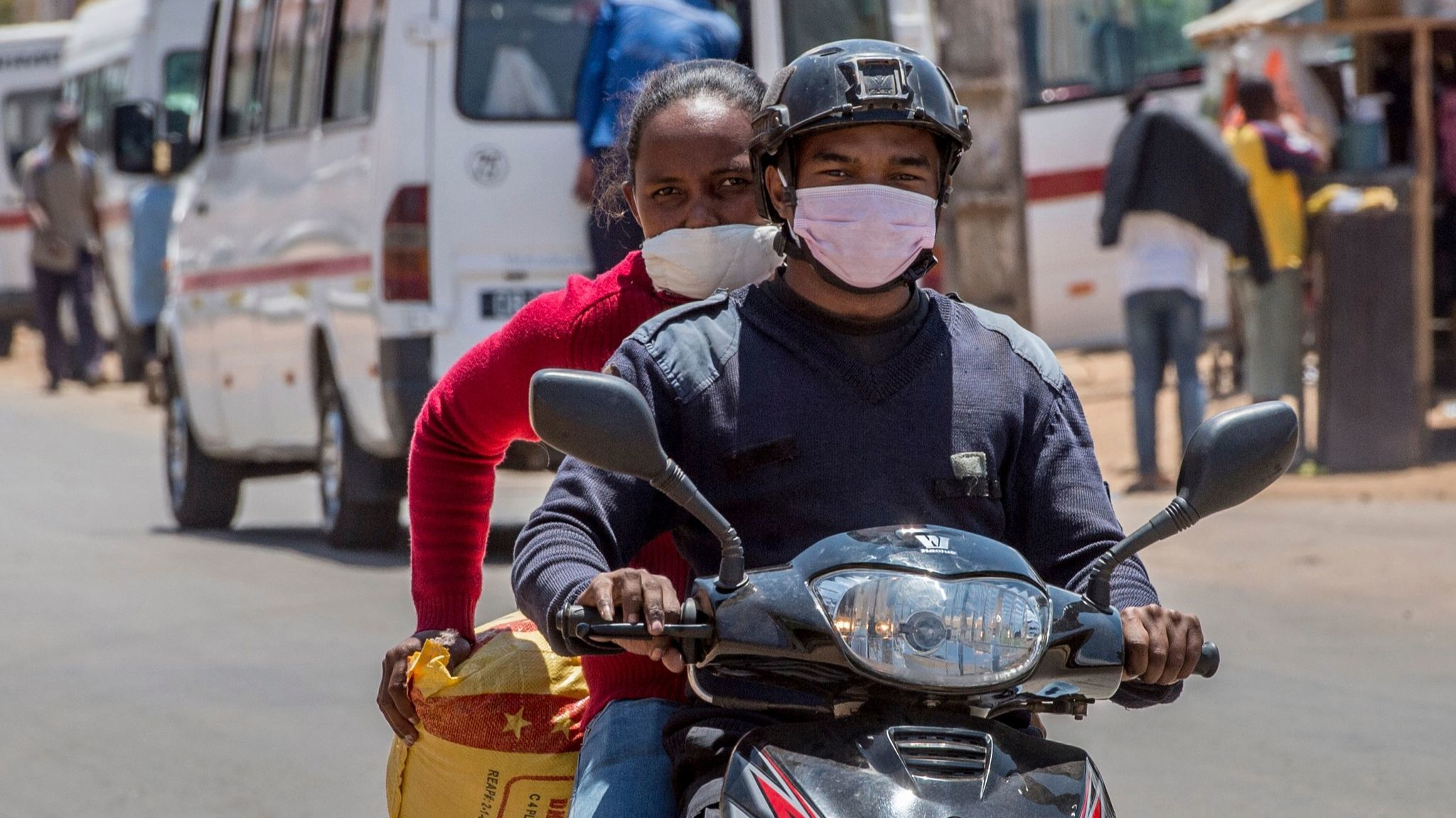 In Madagascar's capital, Antananarivo, people are buying masks to protect themselves against the plague outbreak.