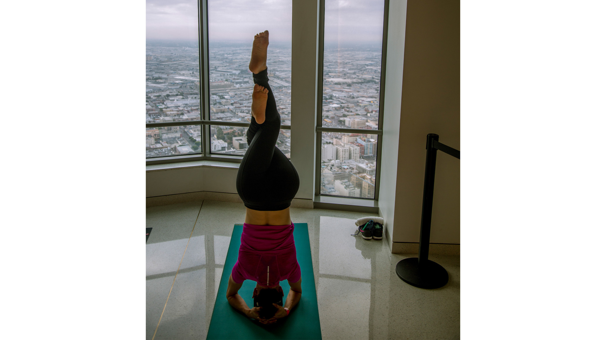 Yoga in the clouds takes place on alternate Mondays at Oue Skyspace LA, at the top of downtown's US Bank Tower