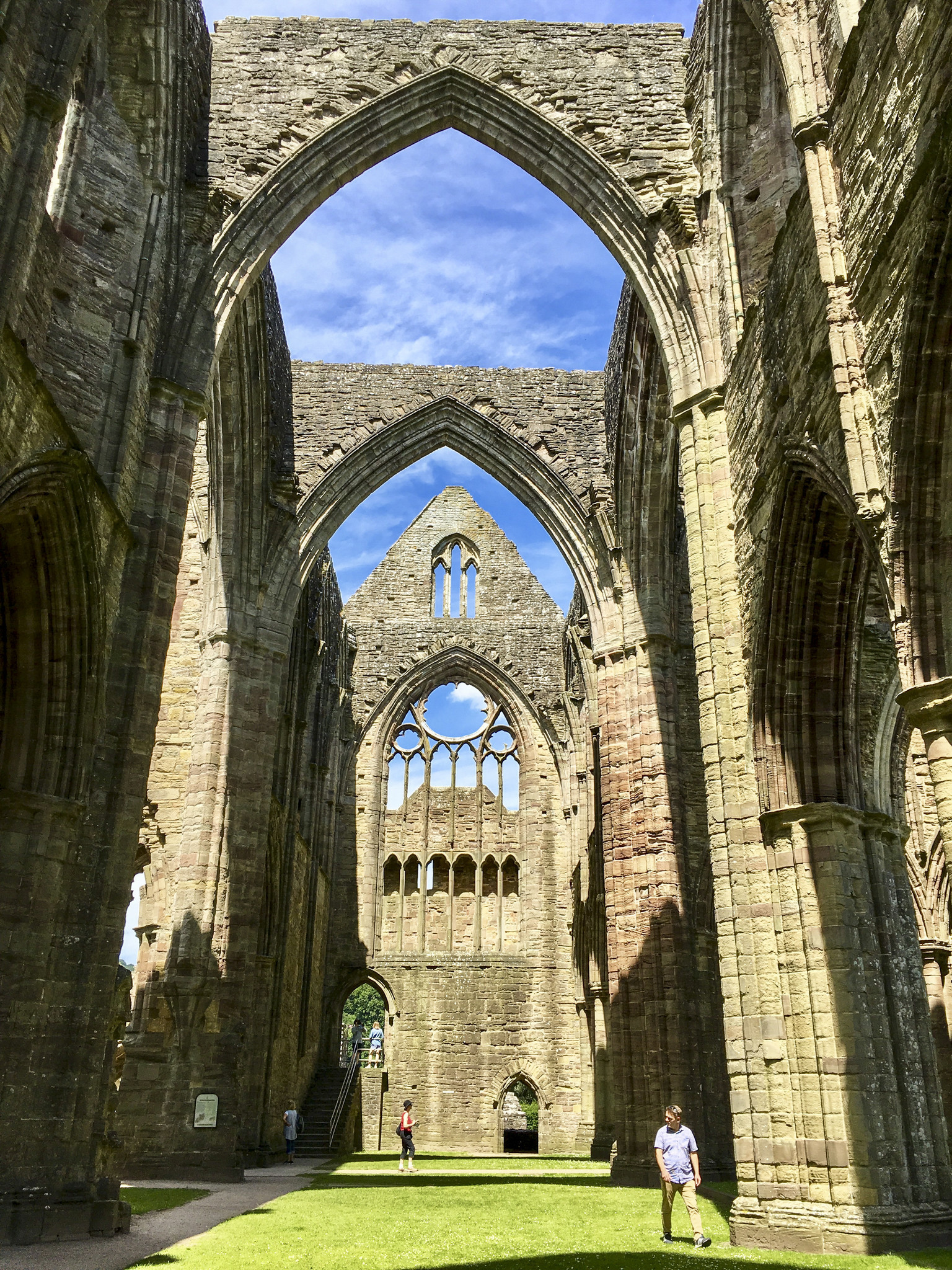 Tintern Abbey, one of Wales' greatest monastic ruins, was founded by the lord of nearby Chepstow Castle in 1131 and completed around 1300. It stands today much as it did then, except for the lack of a roof and windows.