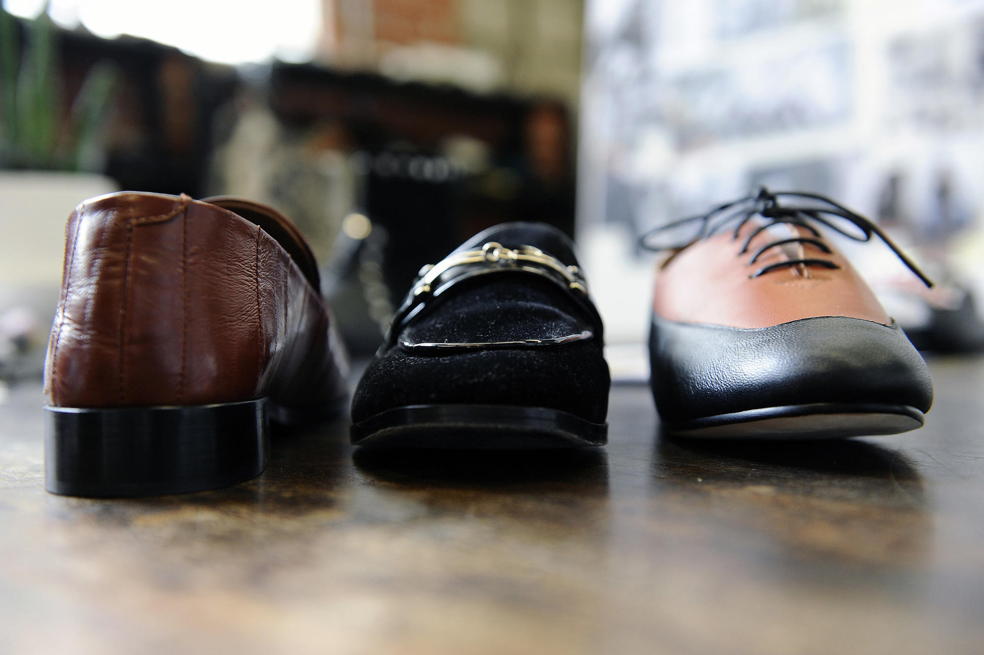 A look at footwear inside the studio of Newbark in Los Angeles.
