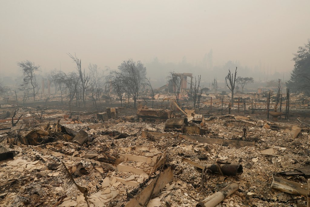 A residential neighborhood destroyed by the Tubbs Fire is seen along Fountaingrove Parkway in Santa Rosa, California, U.S., October 10, 2017.