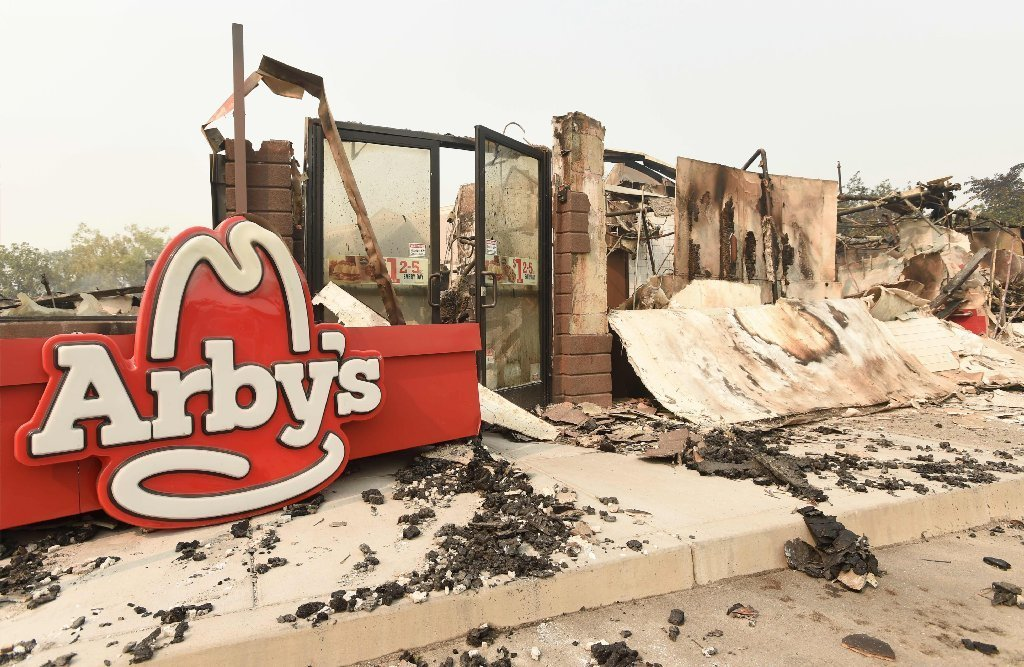 The remains of an Arby's restaurant is seen after burning down in Santa Rosa, California, on October 10, 2017.