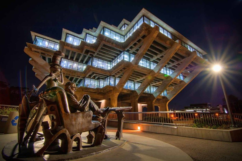 UC San Diego's Geisel Library is designed by William Pereira and the building is known by many as 'the spaceship.' The library will host an Oct. 17 written/spoken word event, 'Short Tales from the Mothership!'