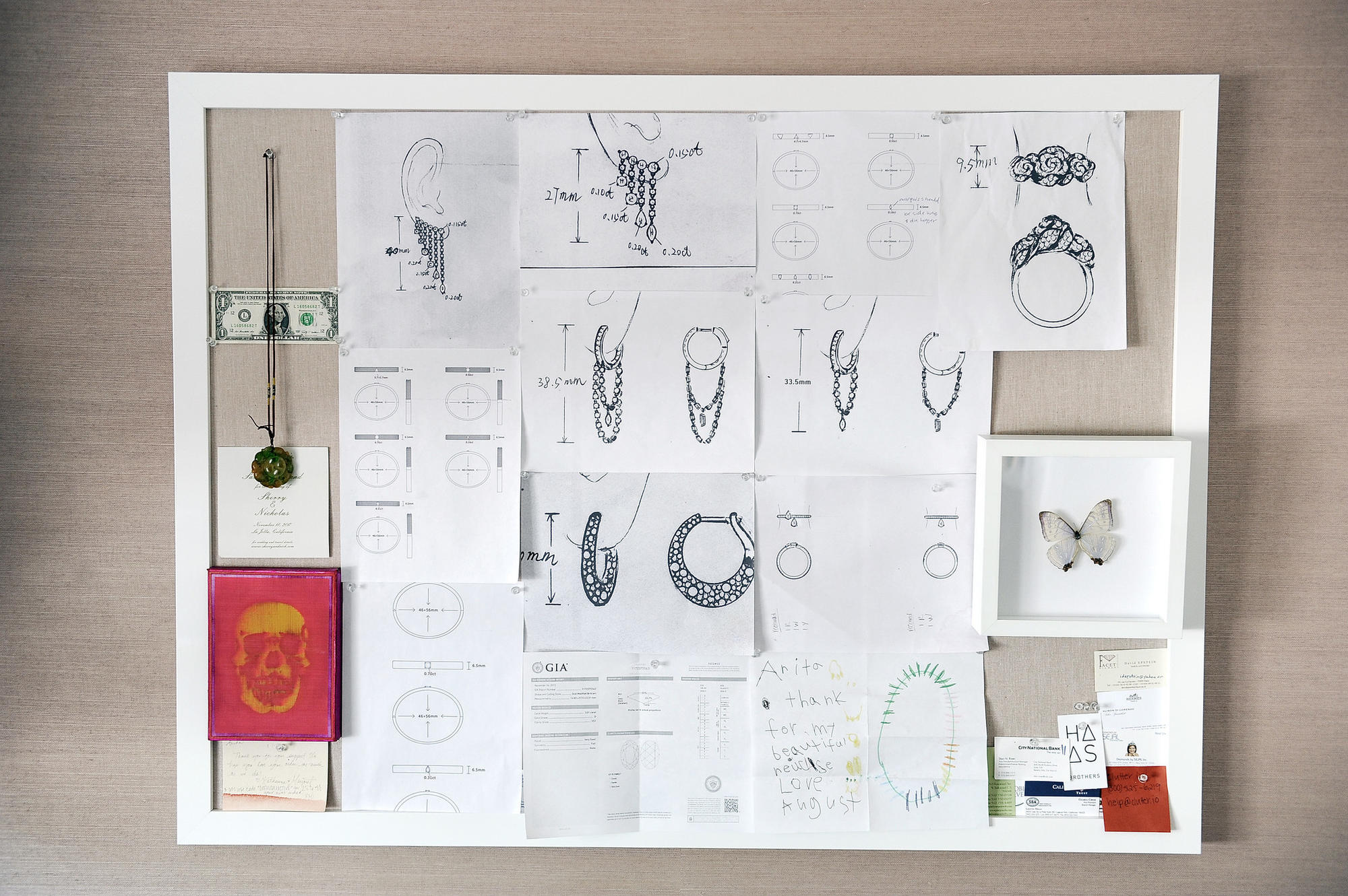 Jewelry designer Anita Ko's inspiration and design board hangs in her office.
