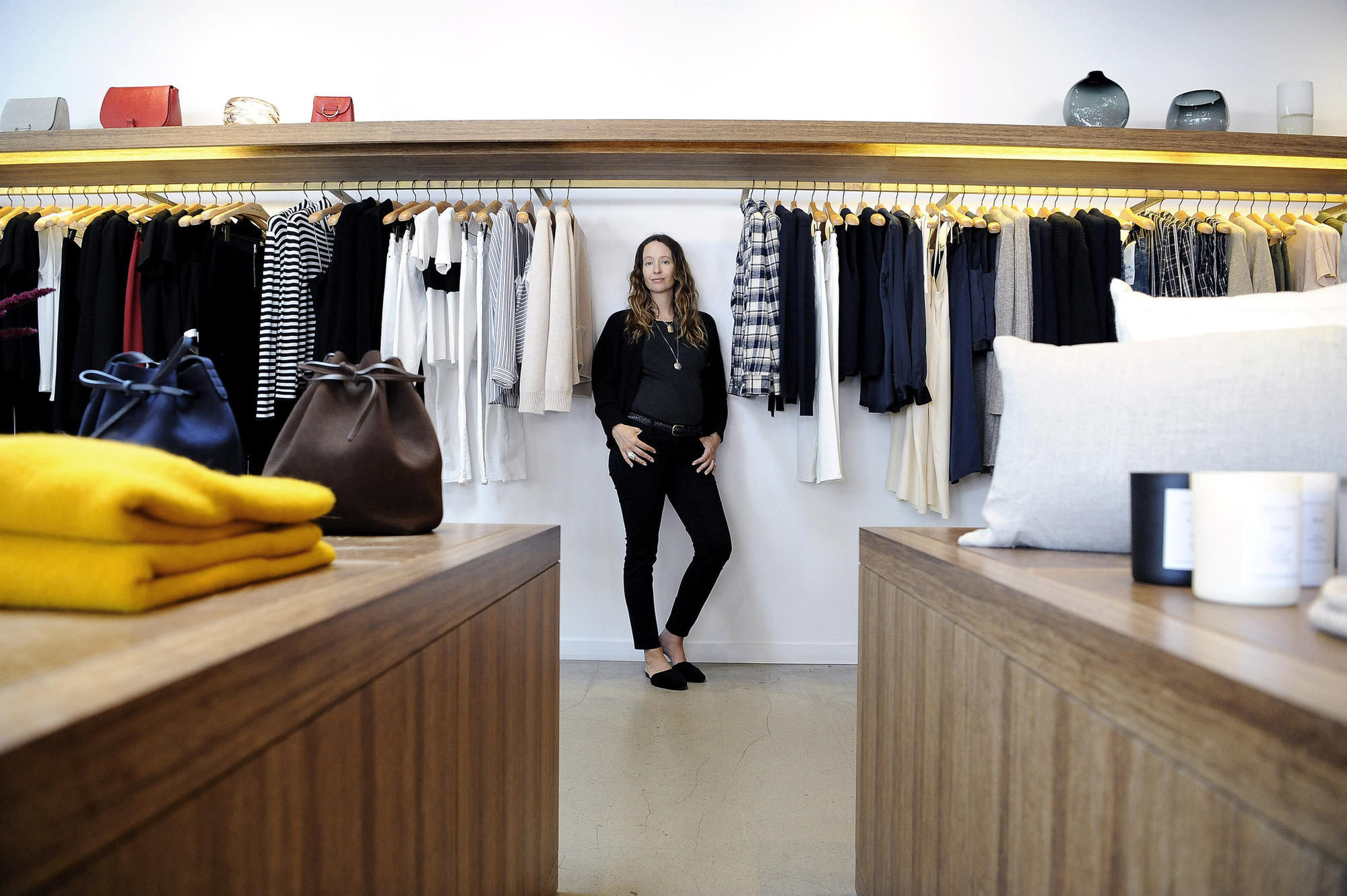 Designer Jenni Kayne at her Brentwood store. Kayne has built a women's fashion and lifestyle brand around her own lifestyle and what inspires her about California. The majority of her goods are made in Los Angeles.