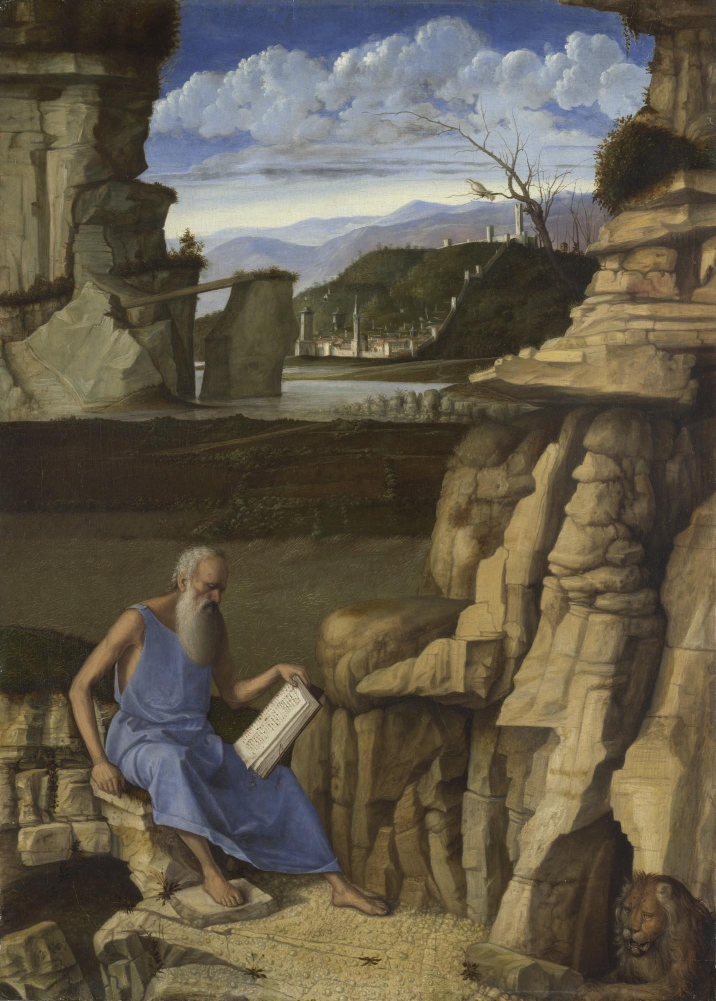 """Giovanni Bellini, """"St. Jerome Reading in the Wilderness,"""" circa 1485."""