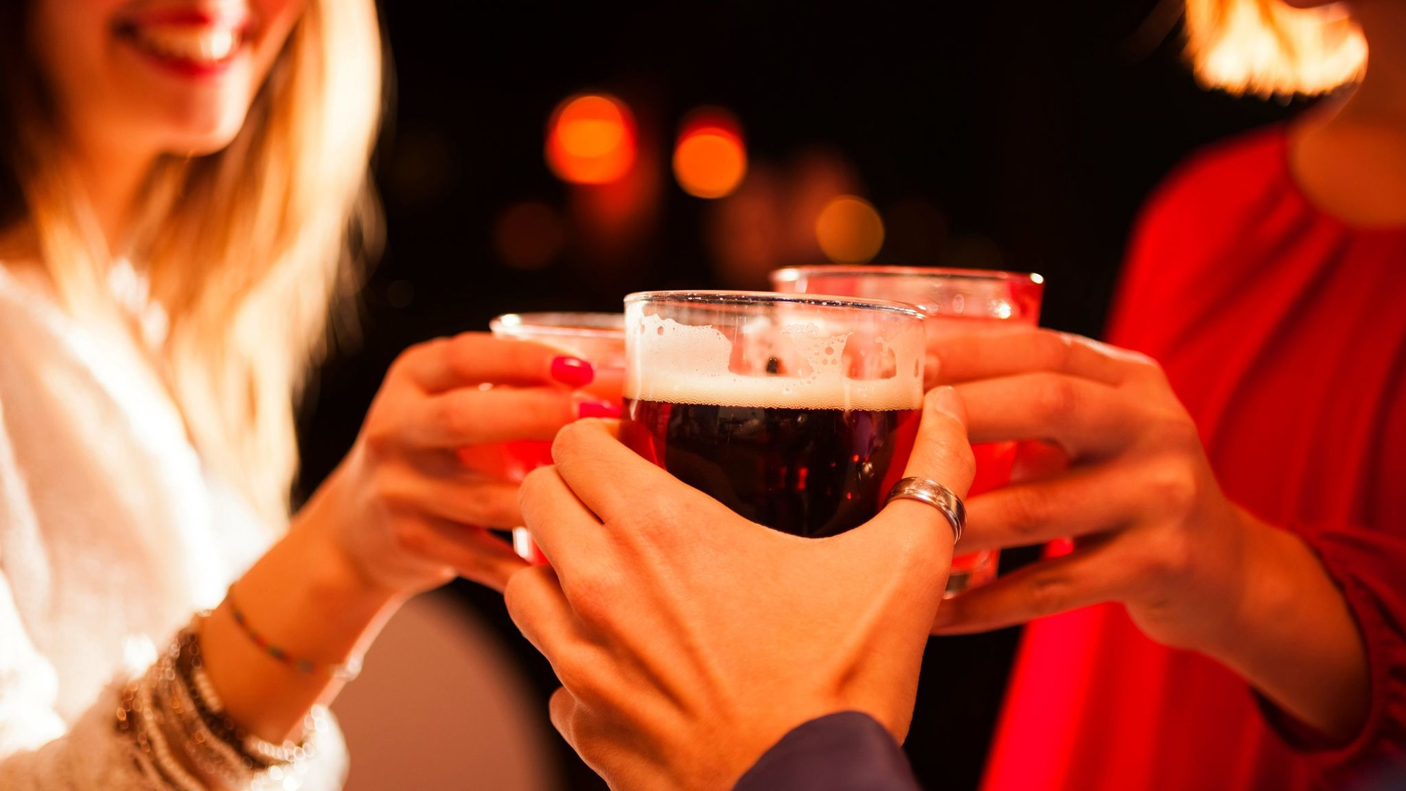 The American Cancer Society recommends men consume no more than two alcoholic drinks per day, and women only one.