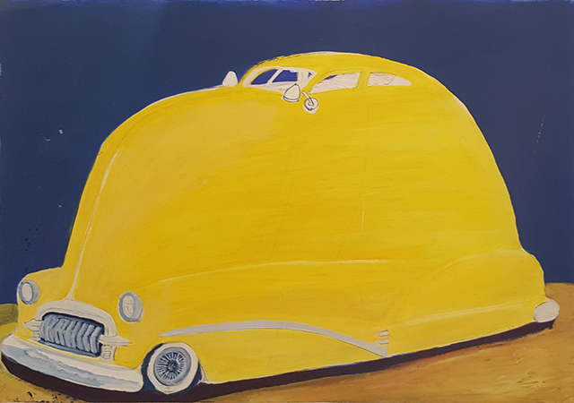 """52 Custom Chevy Fleetline,"" 1992, by Gilbert ""Magu"" Luján, at Craig Krull Gallery in Santa Monica."