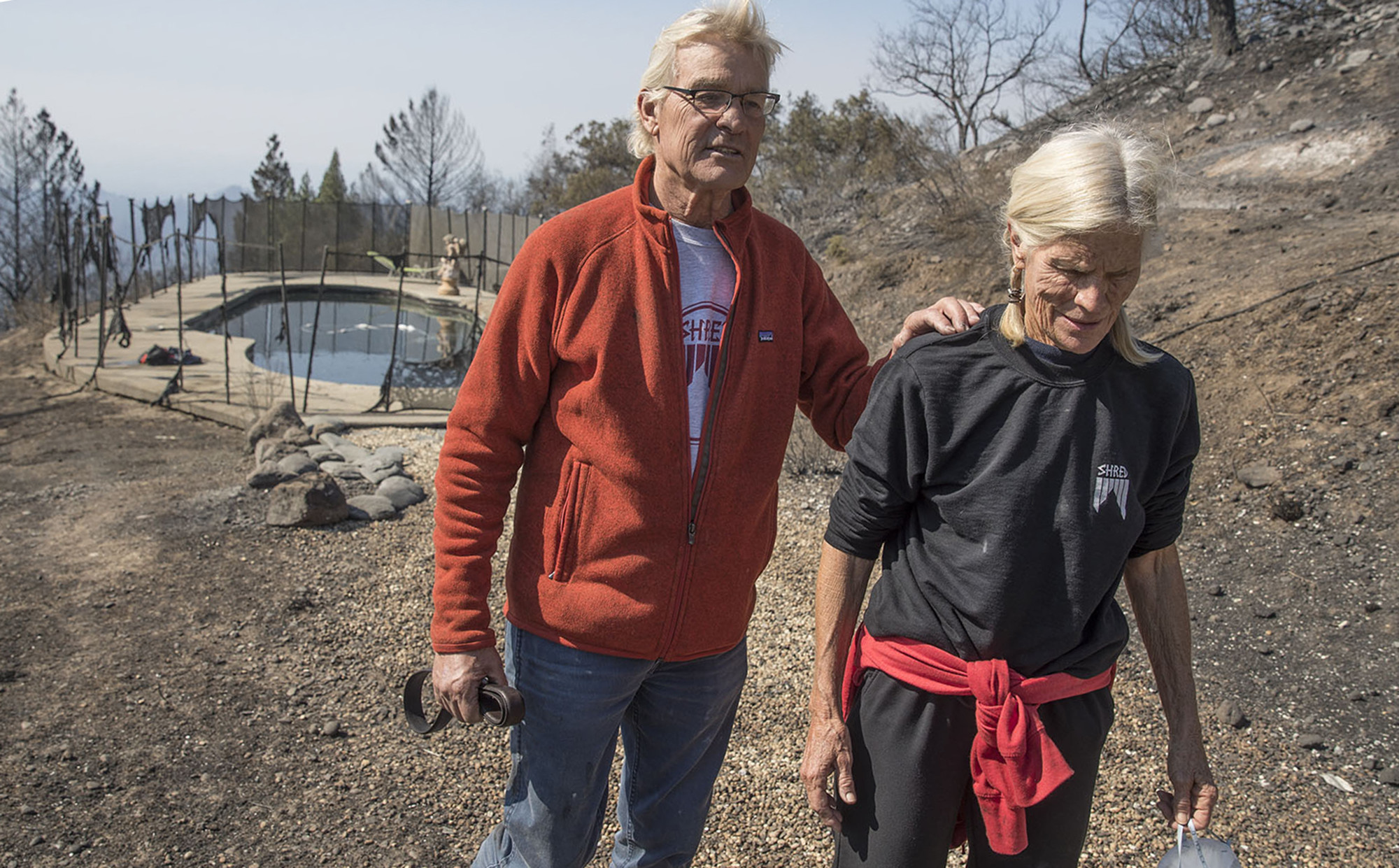 John and Jan Pascoe survived the firestorm Monday morning by running out of their home and into their neighbors swimming pool in Santa Rosa.