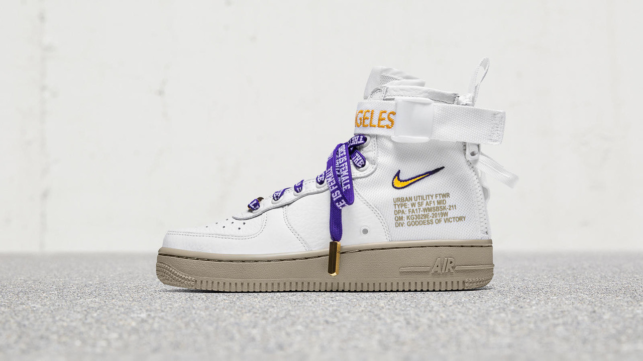 In celebration of the new Nordstrom X Nike boutique at Nordstrom at Westfield Century City, the athletic brand this week launched its Nike Special Field Air Force 1 in purple and gold as a tribute to Los Angeles.