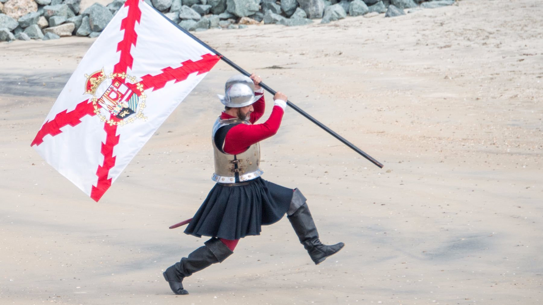 Cabrillo re-enactor claiming the land in the name of Spain