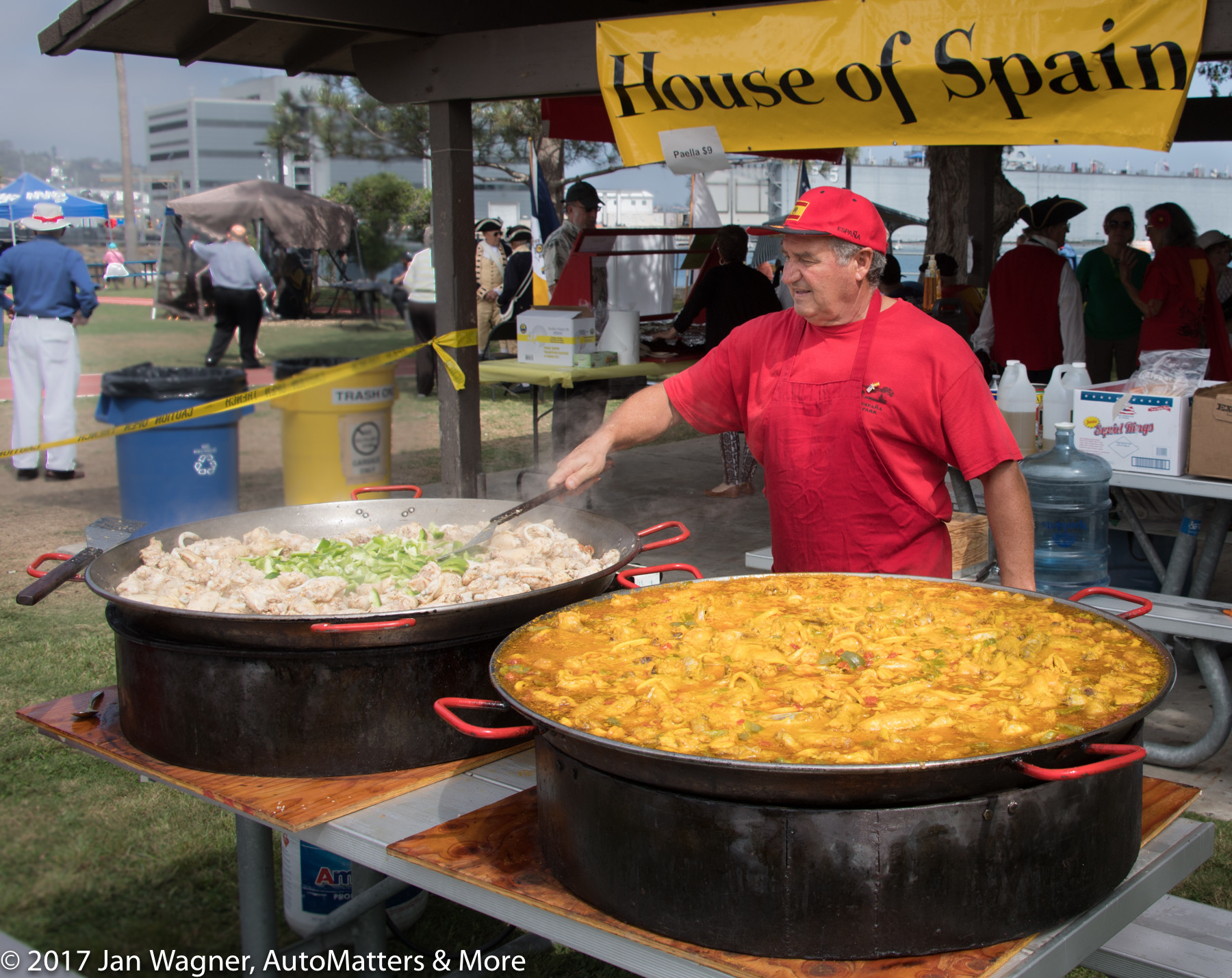 Paella being cooked by Jesús Benayas, President of the House of Spain