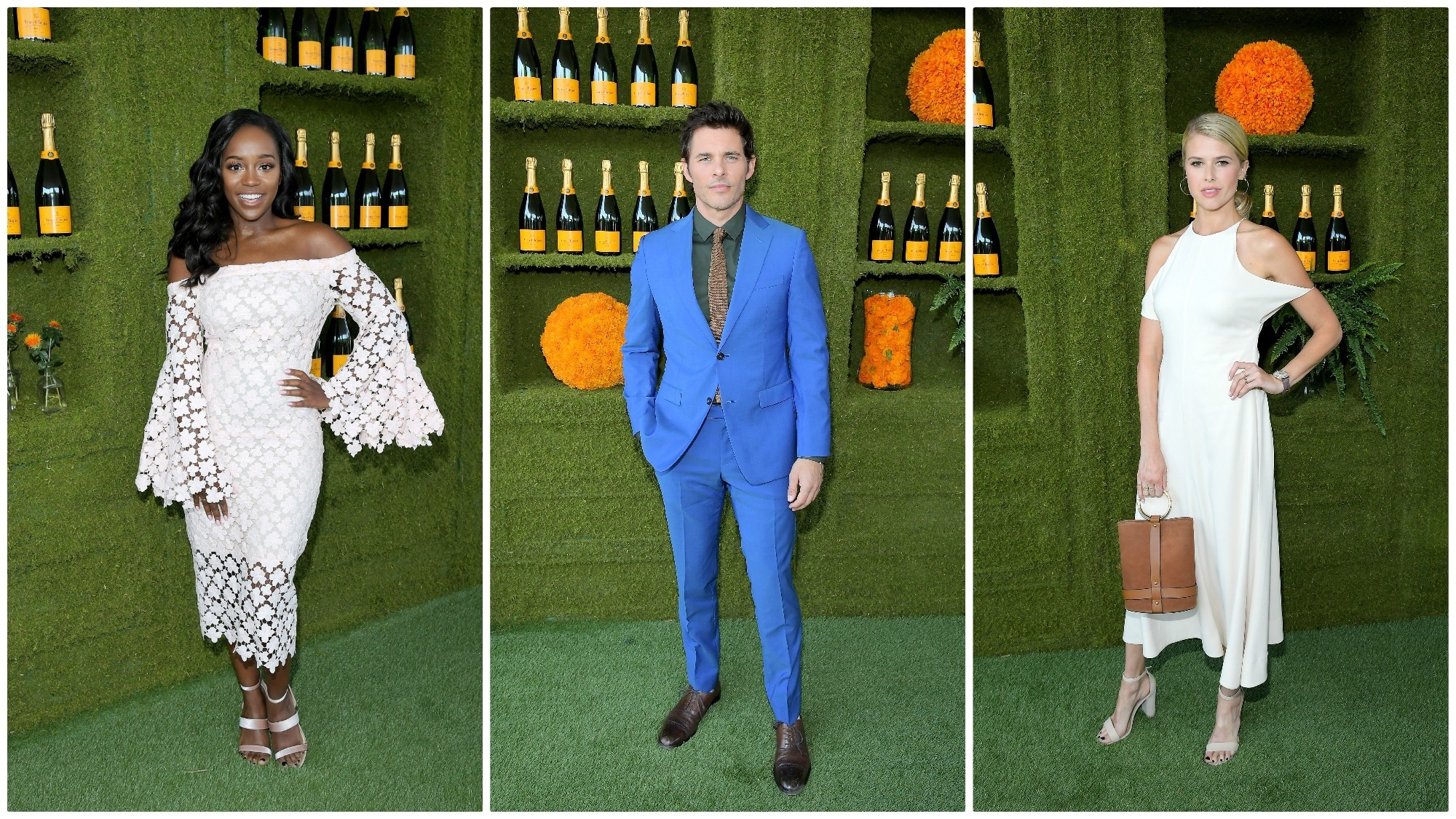 Aja Naomi King, left, James Marsden and Sarah Wright join the Hollywood crowd for a Saturday afternoon of polo.