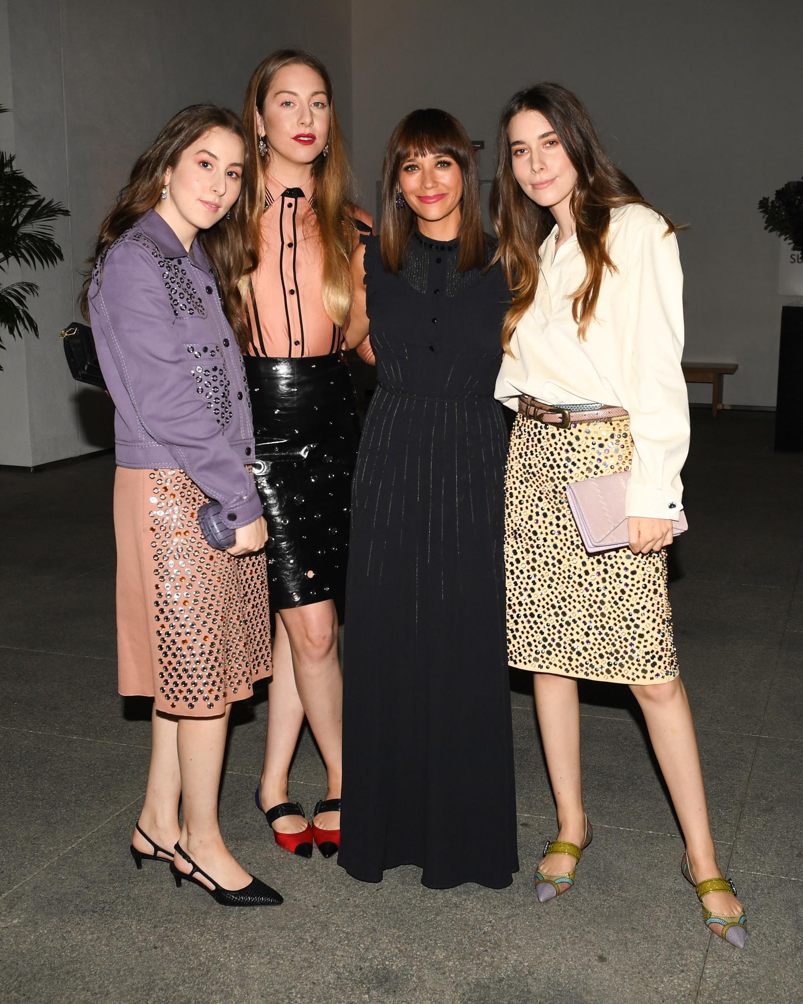 Este Haim, from left, Danielle Haim, Alana Haim, Rashida Jones and Danielle Haim attend the Hammer Museum gala on Saturday.