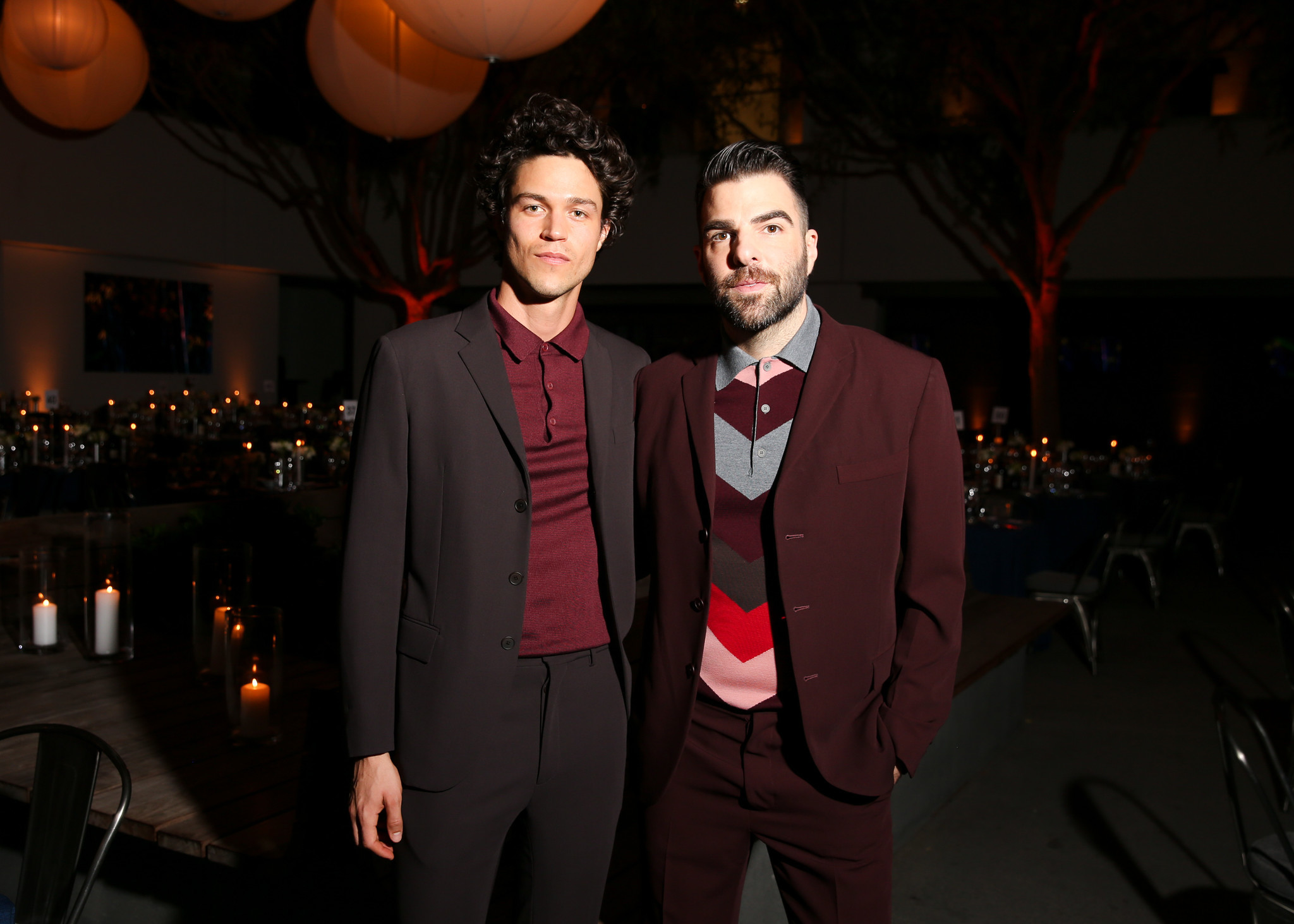 Miles McMillan and gala co-chair Zachary Quinto in Bottega Veneta.
