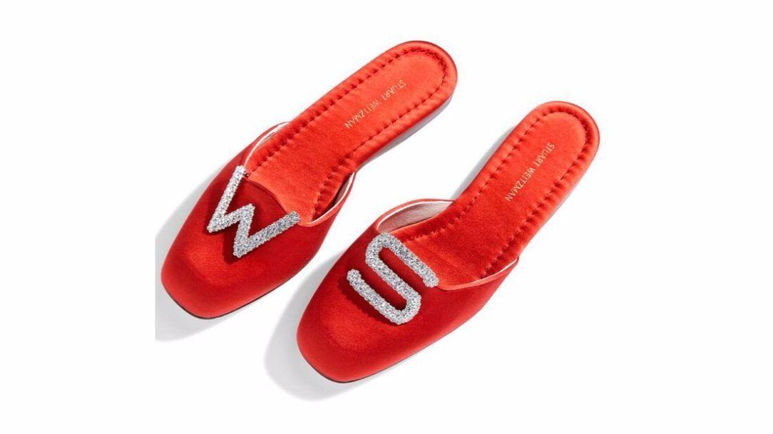 Stuart Weitzman crystal letter shoe clips,