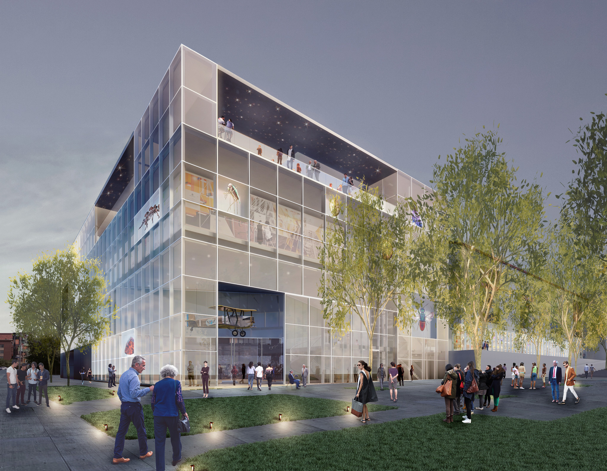A new three-story glass cube would replace an auditorium used for storage.