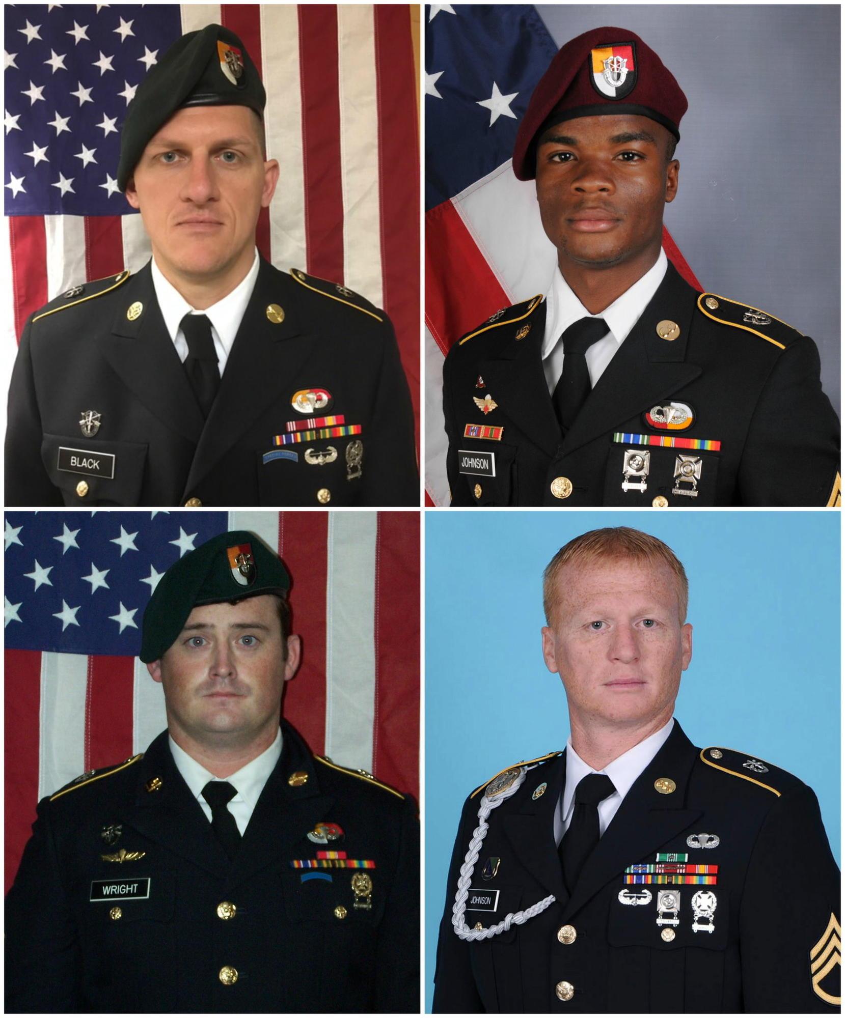 Clockwise from upper left: Army Staff Sgt. Bryan C. Black, 35; Sgt. La David Johnson, 25; Staff Sgt. Jeremiah W. Johnson, 39; and Staff Sgt. Dustin M. Wright, 29.