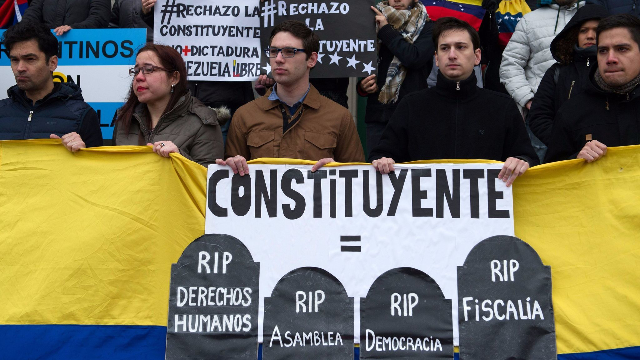 Venezuelans in Argentina gathered in Buenos Aires in July to protest the election for a Constituent Assembly back home. Critics said assembly was a sham intended to enhance the power of President Nicolas Maduro.