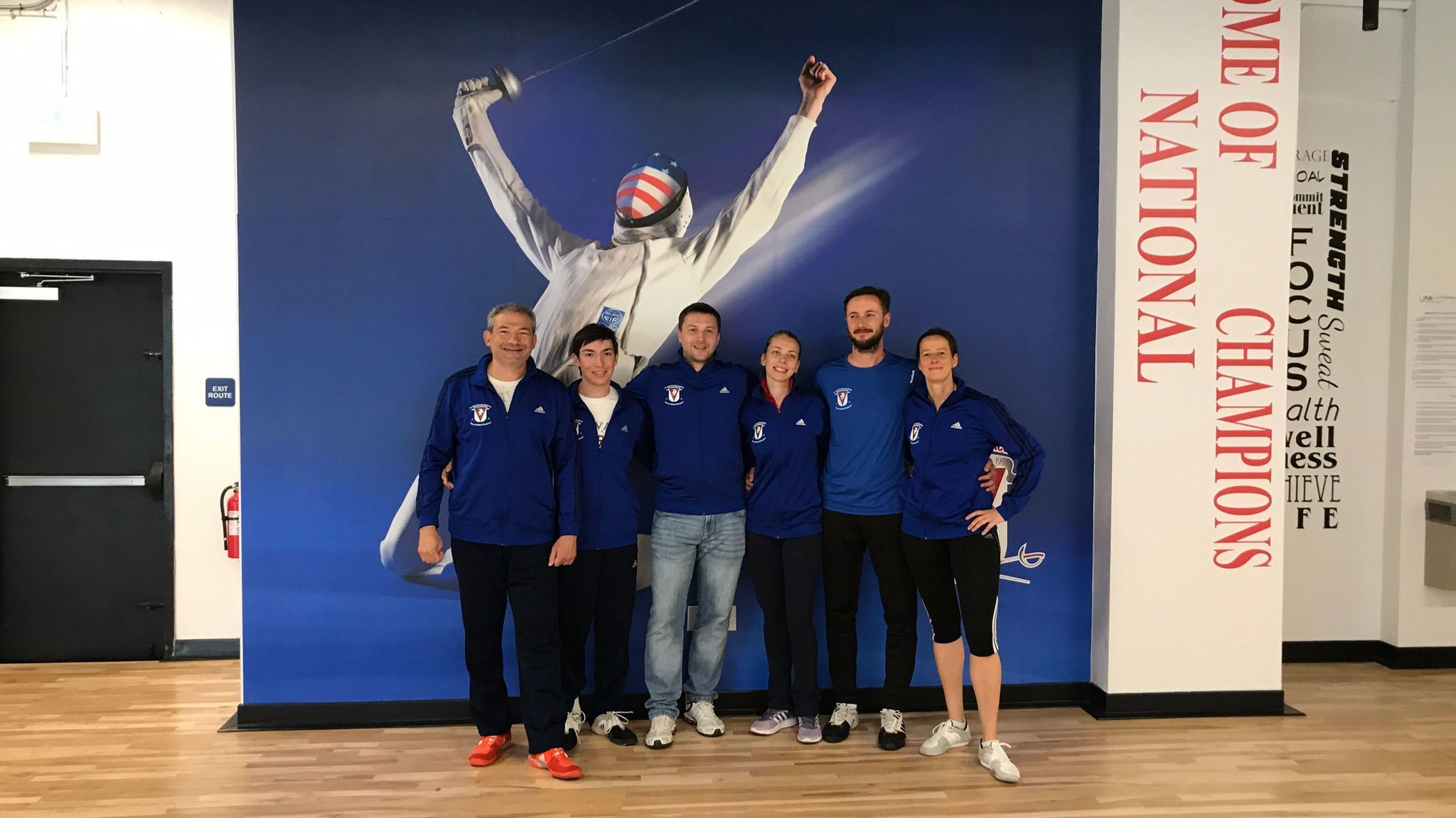 La Jolla Fencing owner Dmitriy Guy (far left) with his coaches.