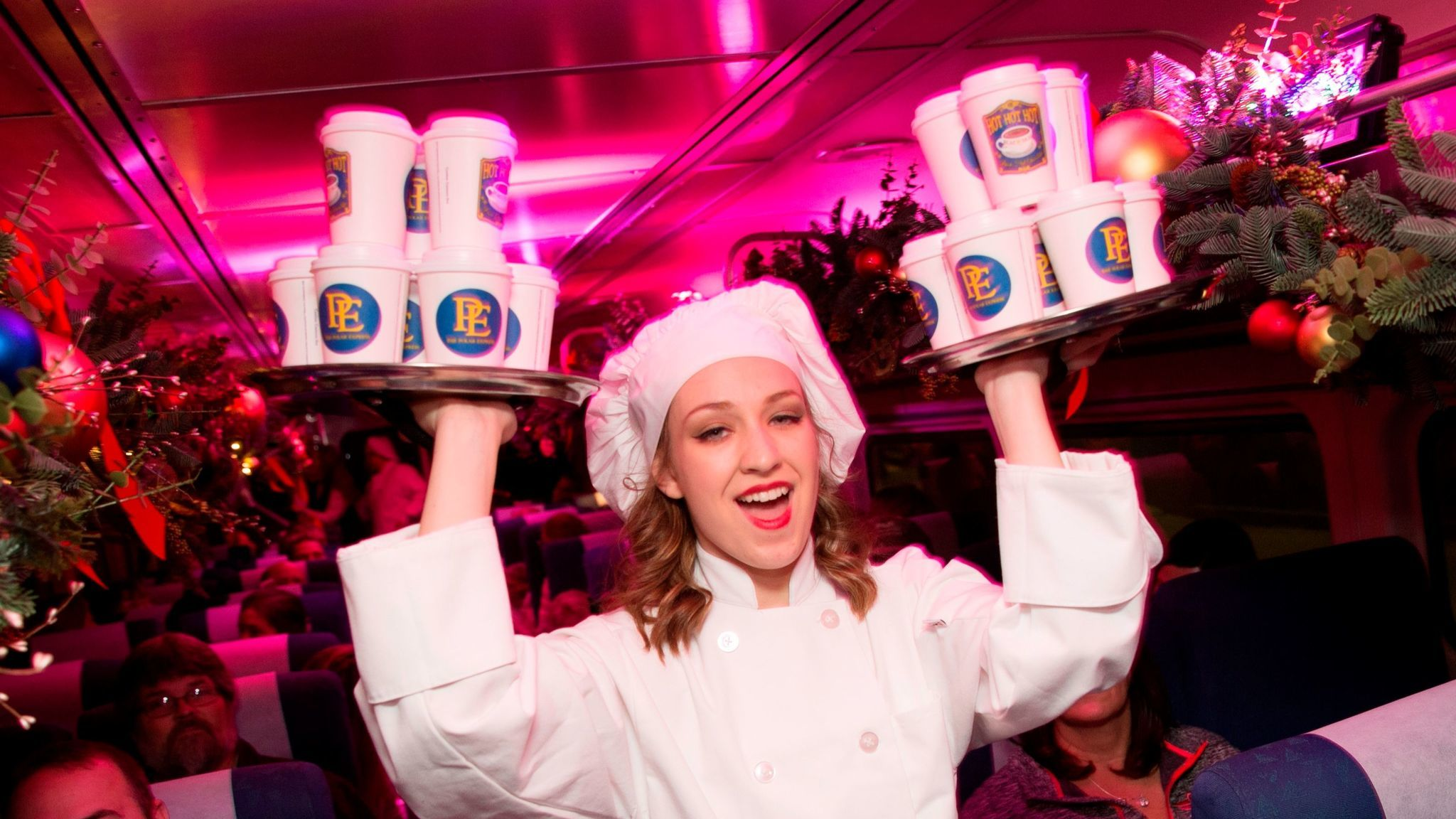 """Hot chocolate is served on the """"Polar Express"""" ride in Chicago."""