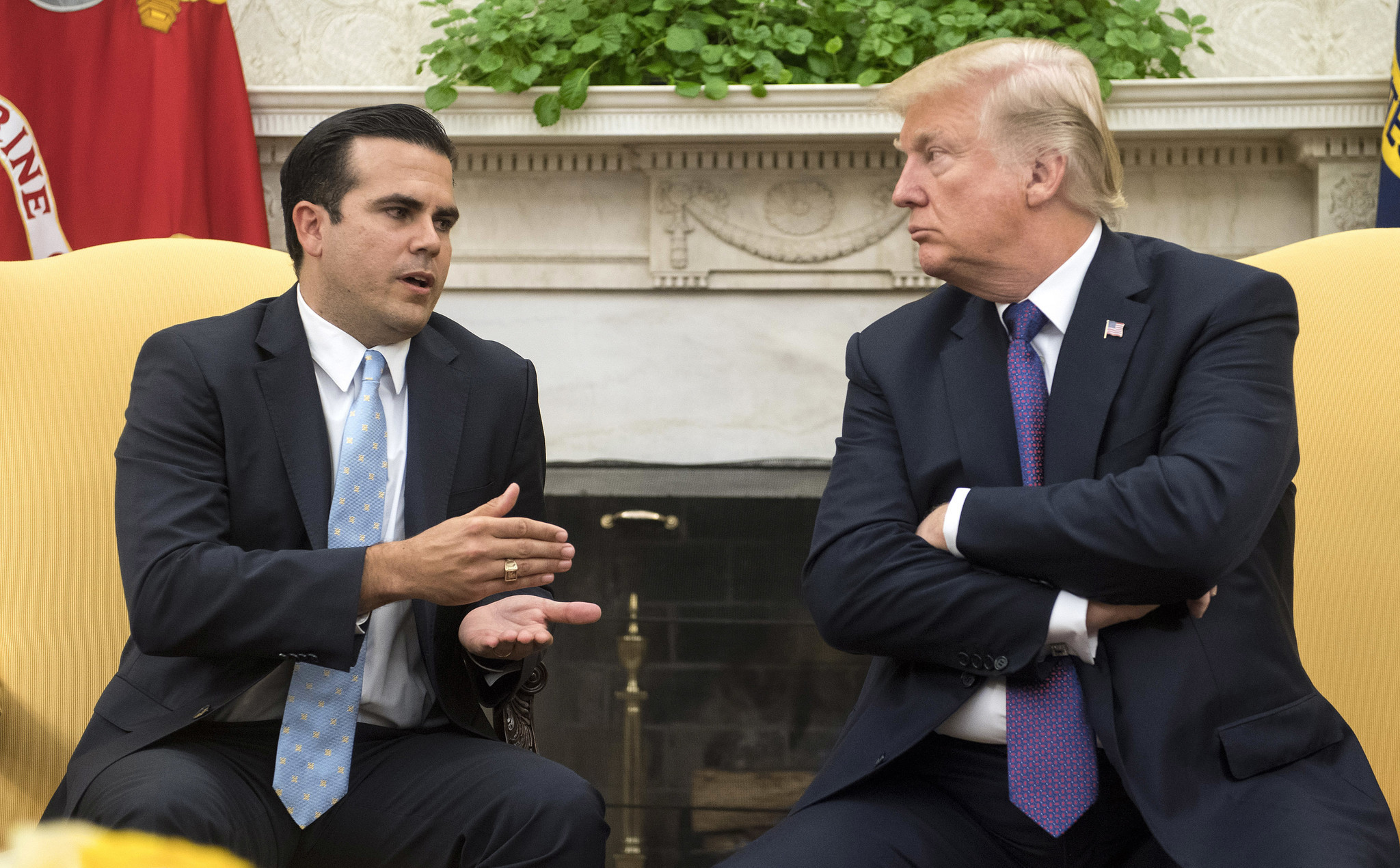 Image result for photo of the governor of puerto rico and donald trump at the White House