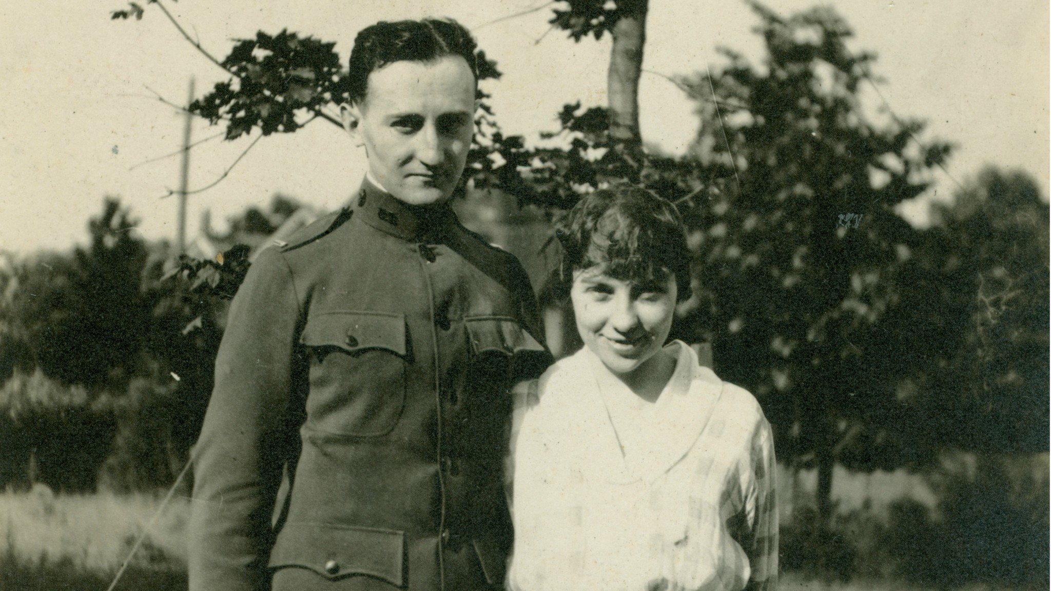 """A photo of Elizebeth Friedman Smith with William Smith, around 1918, from the book """"The Woman Who Smashed Codes."""""""