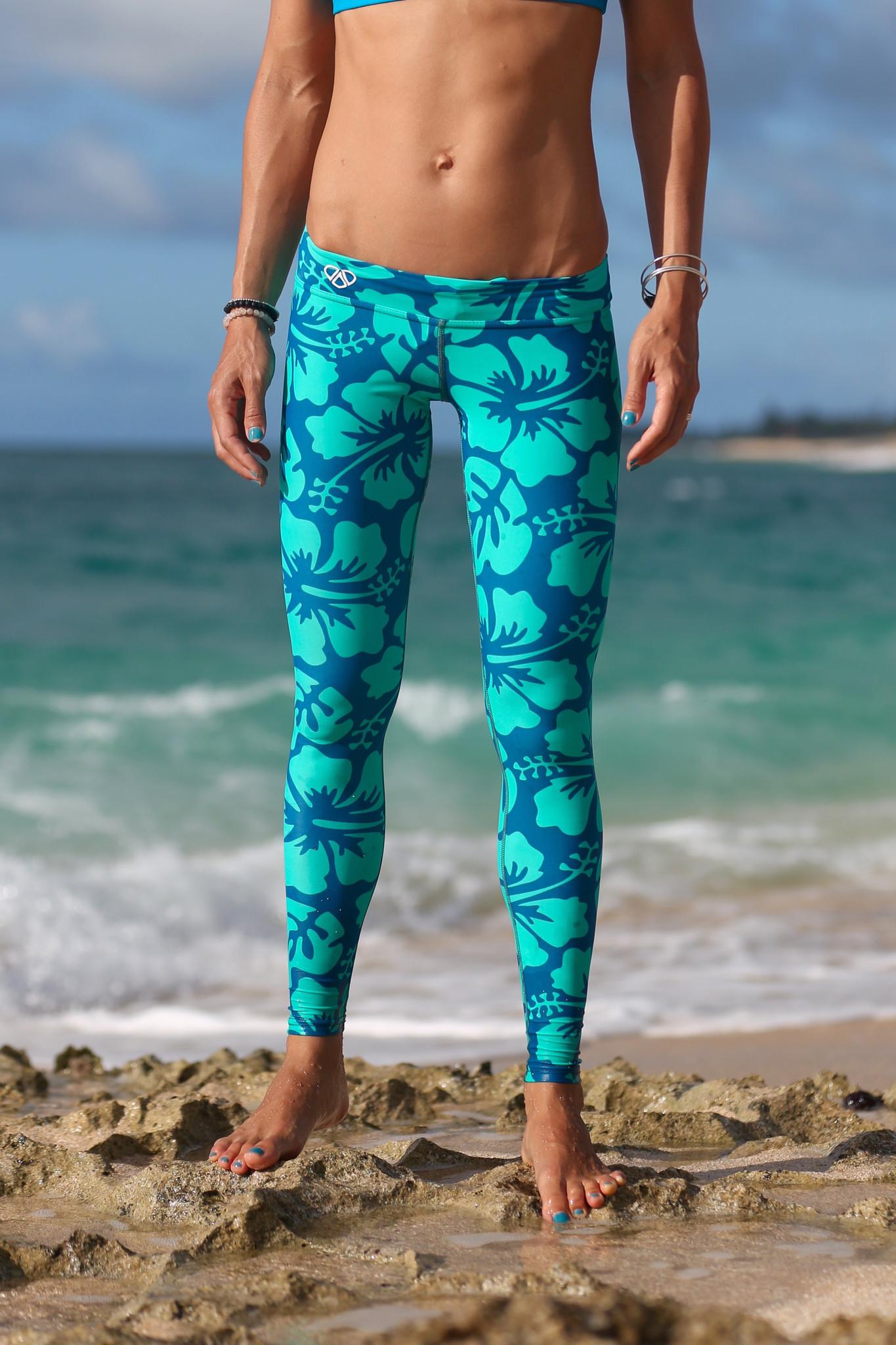 Smart: Designed to get wet but not heavy to take you from yoga to windsurfing Mahiku Hawaii's Aloha Sport Leggings ($90)