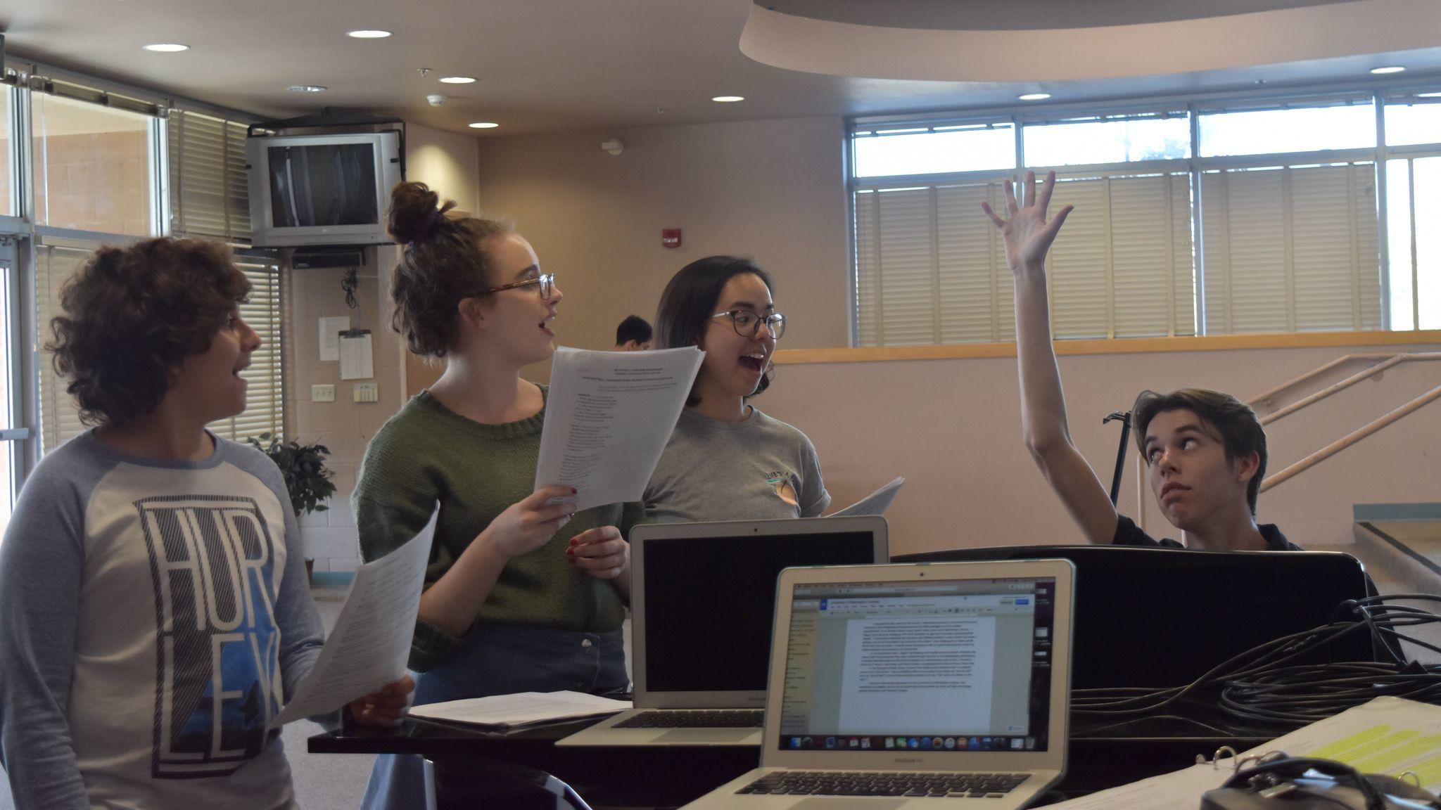 "CCA students rehearse ""Mystifique""."