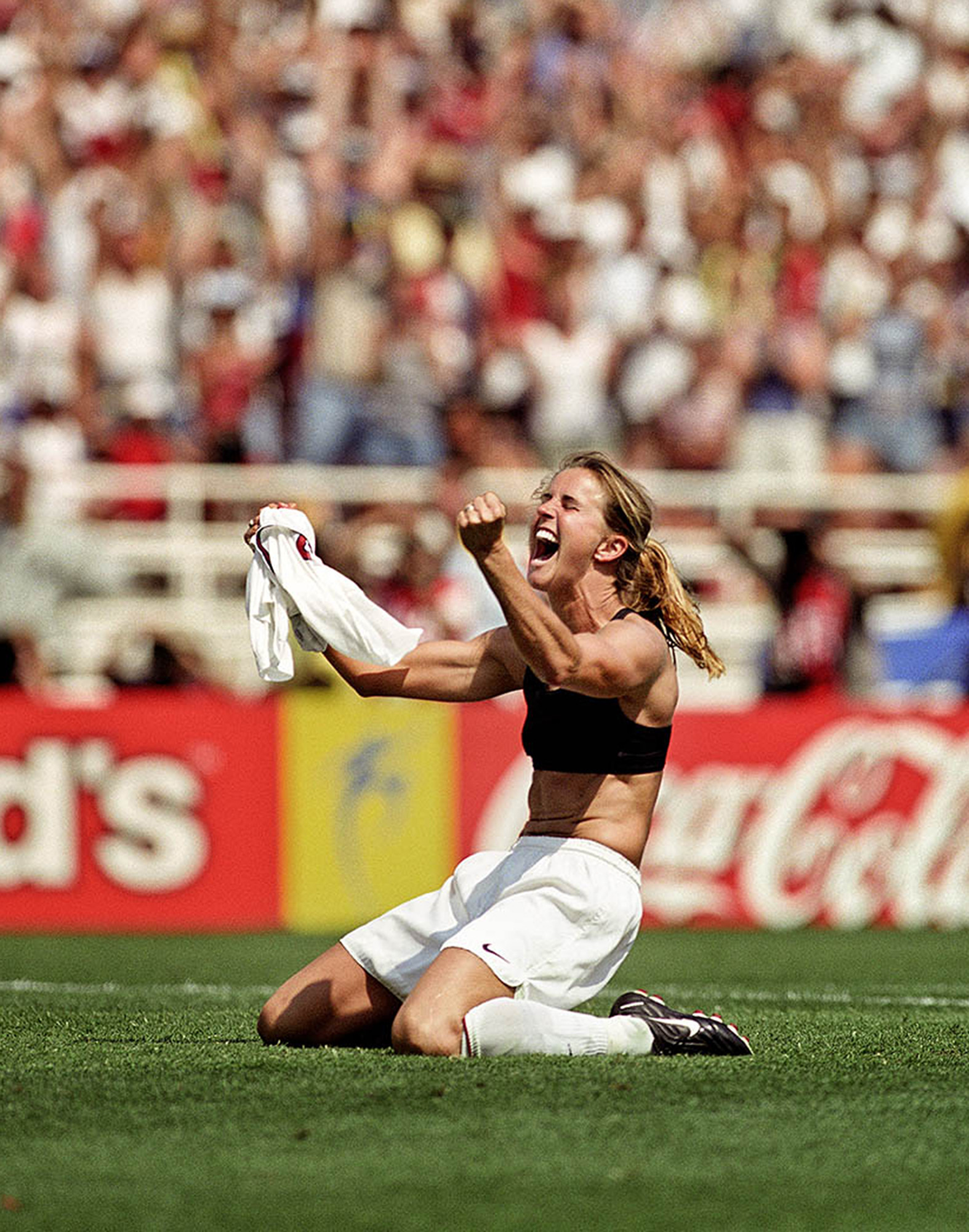 World champion Brandi Chastain exults after scoring the winning goal in the United States' 5-4 penalty-kick victory over China in the World Cup final in front of 90,185 at the Rose Bowl in 1999.