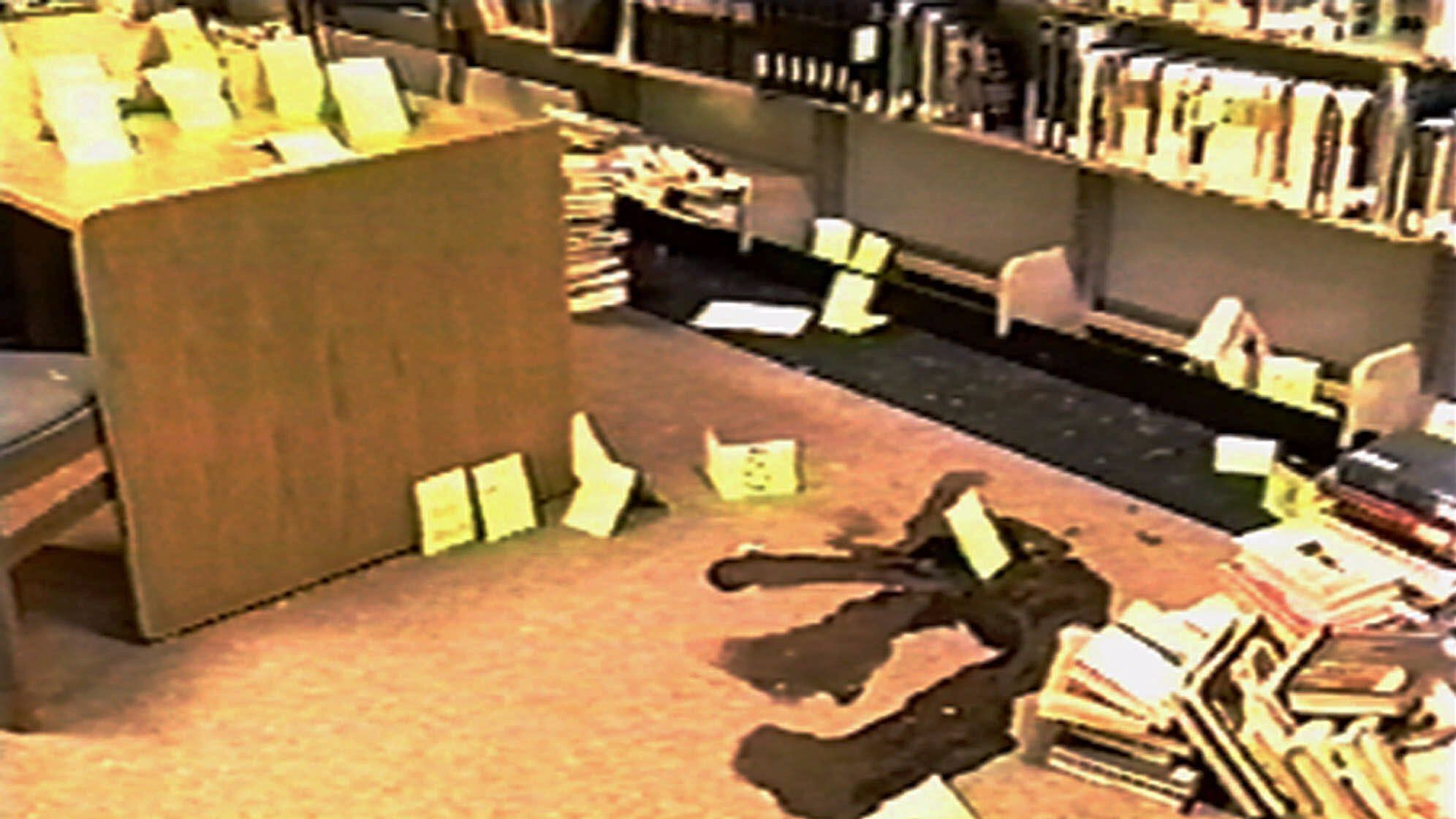 An image from a video shows the scene of the 1999 massacre at Columbine High School in Colorado.