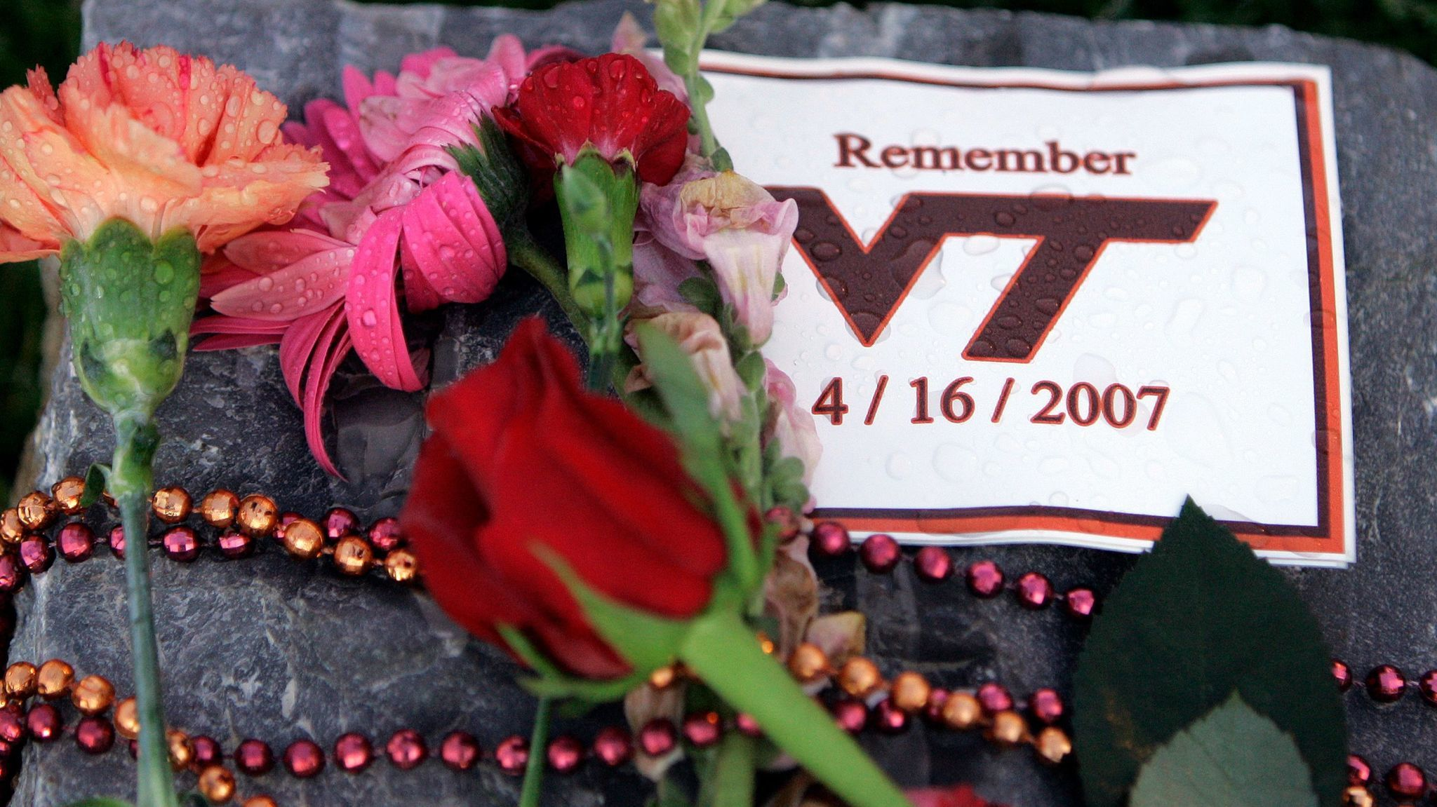 A makeshift memorial on the Virginia Tech campus honors the 32 victims killed in a shooting rampage in 2007.