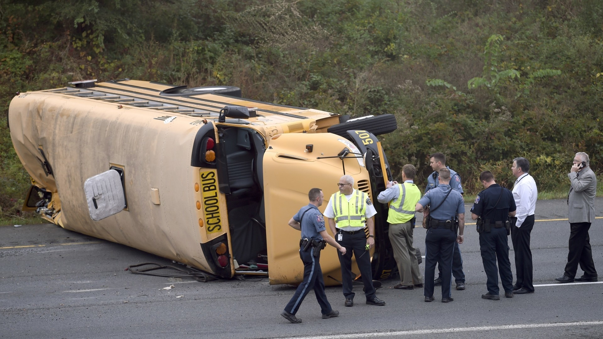 School bus overturns on MD-29 - Baltimore Sun