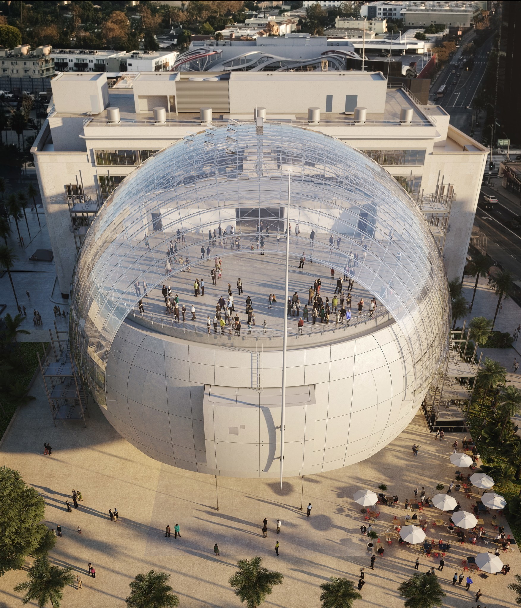 The Academy Museum's spherical theater, in a rendering, will be topped with a wide terrace.