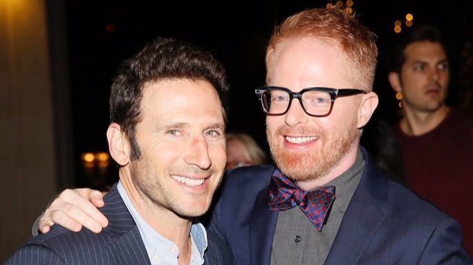 """Mark Feuerstein and Jesse Tyler Ferguson arrive for the opening-night performance of """"Bright Star."""""""